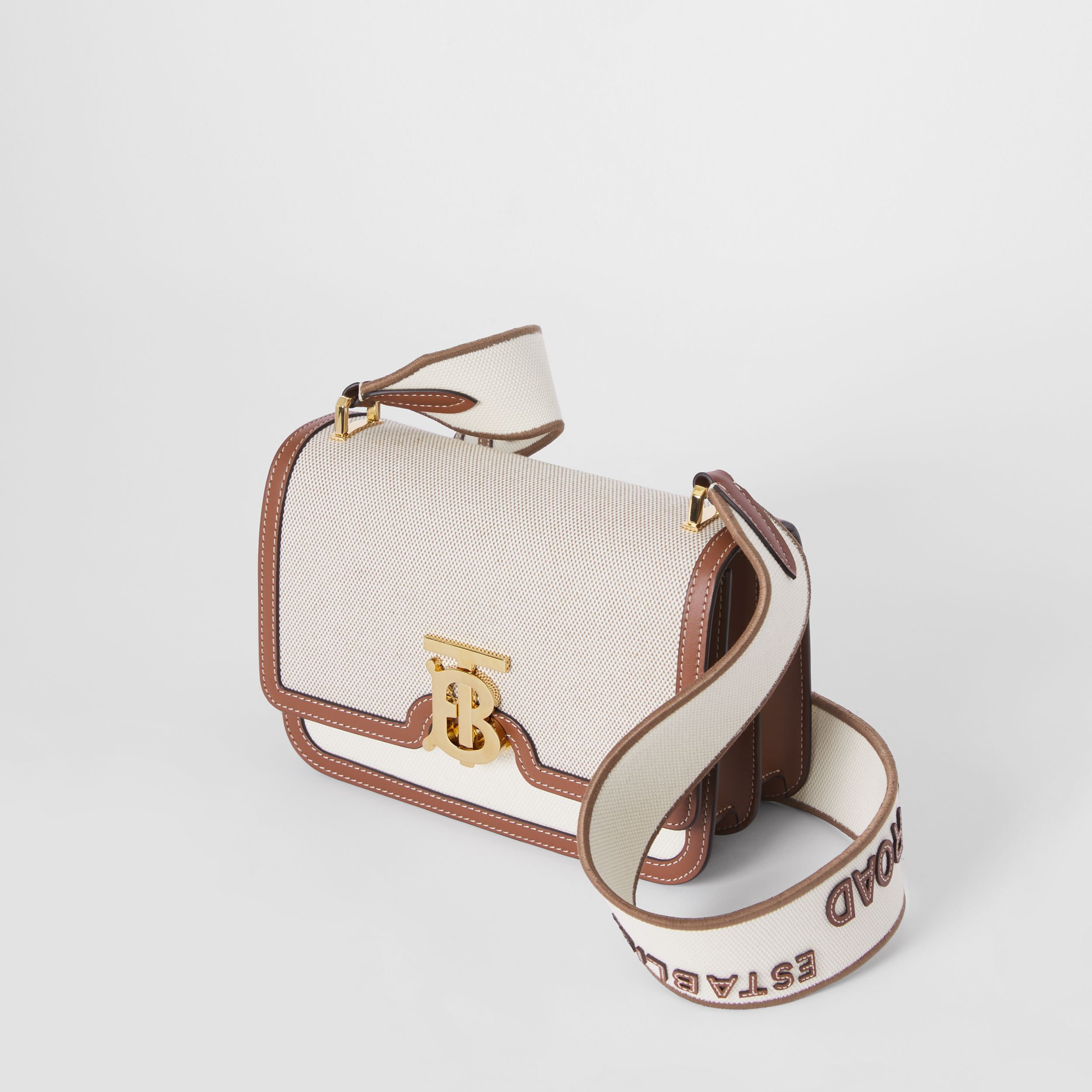 Small Cotton Canvas and Leather TB Bag in Soft Fawn/ecru - Women | Burberry United Kingdom - 4
