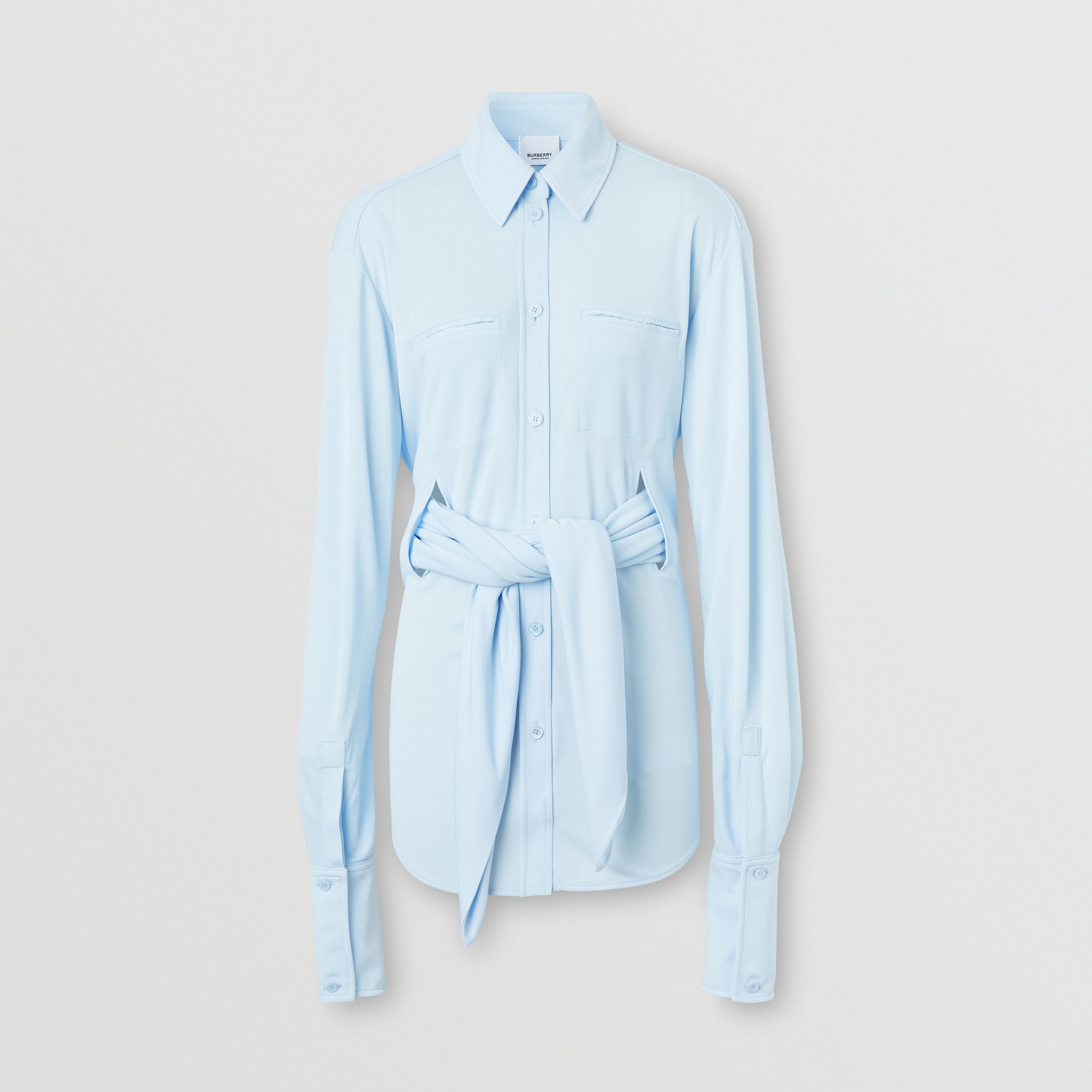 Sash Detail Jersey Oversized Shirt in Pale Blue - Women | Burberry United Kingdom - 4