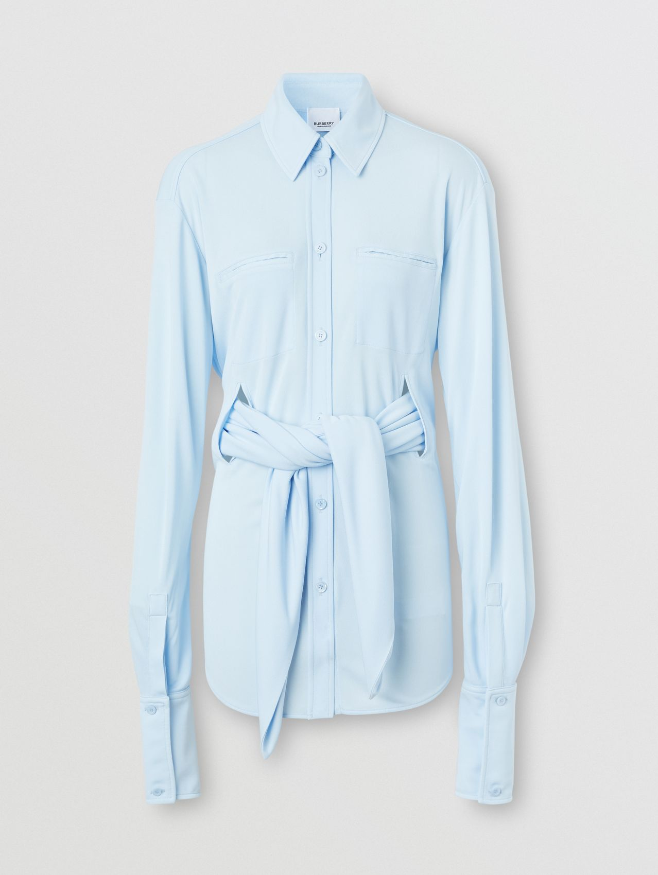 Sash Detail Jersey Oversized Shirt in Pale Blue