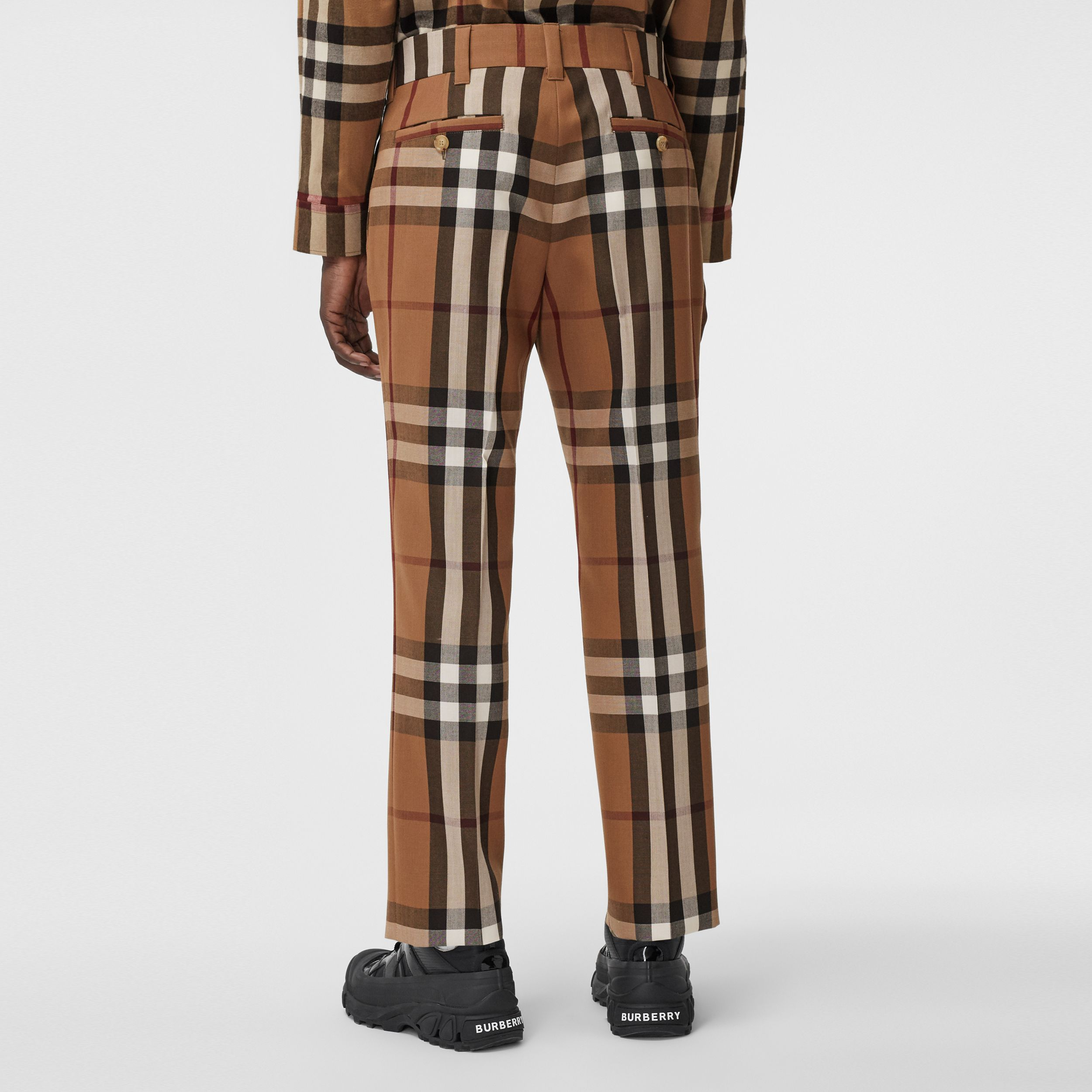 House Check Wool Tailored Trousers in Birch Brown | Burberry - 3