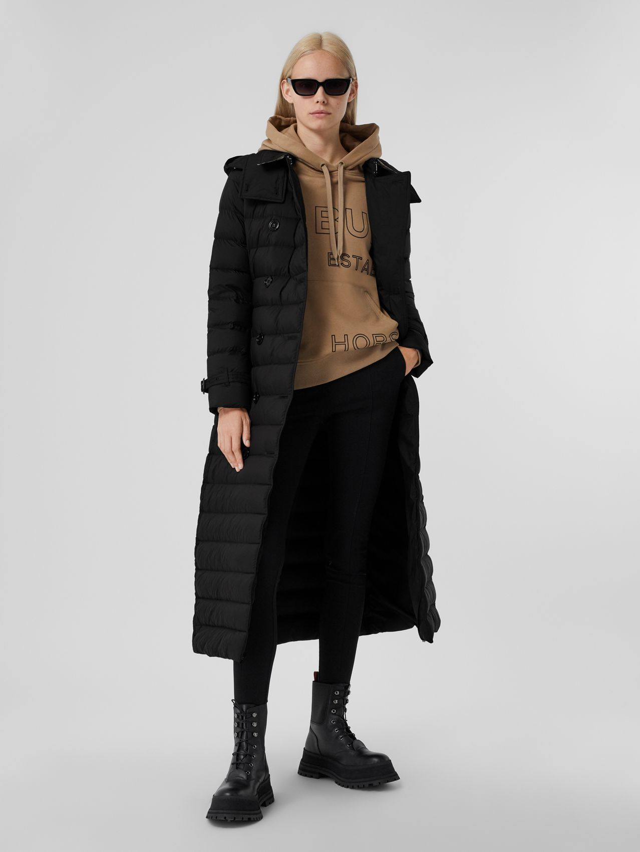 Logo Appliqué Detachable Hood Puffer Coat in Black