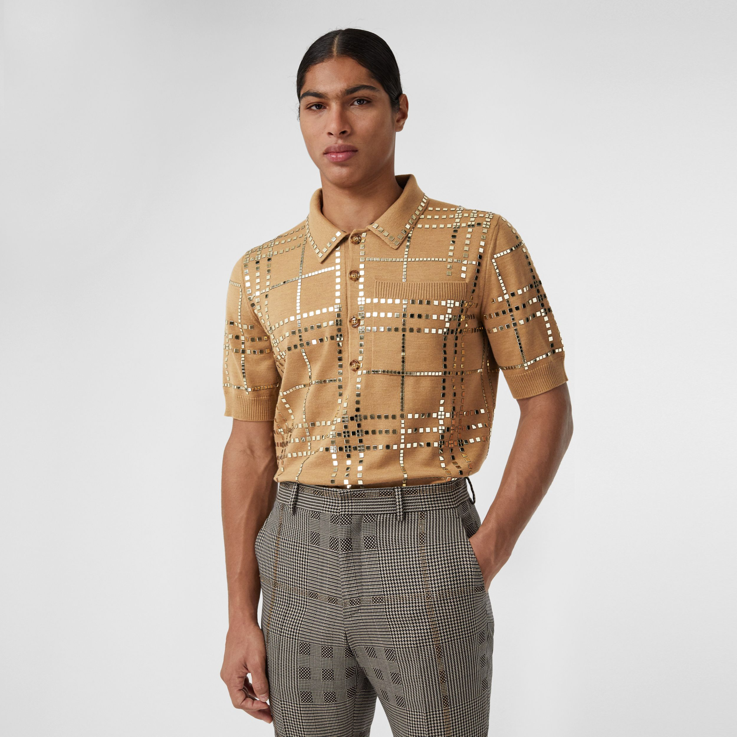 Mirrored Check Wool Jersey Polo Shirt in Camel | Burberry - 1