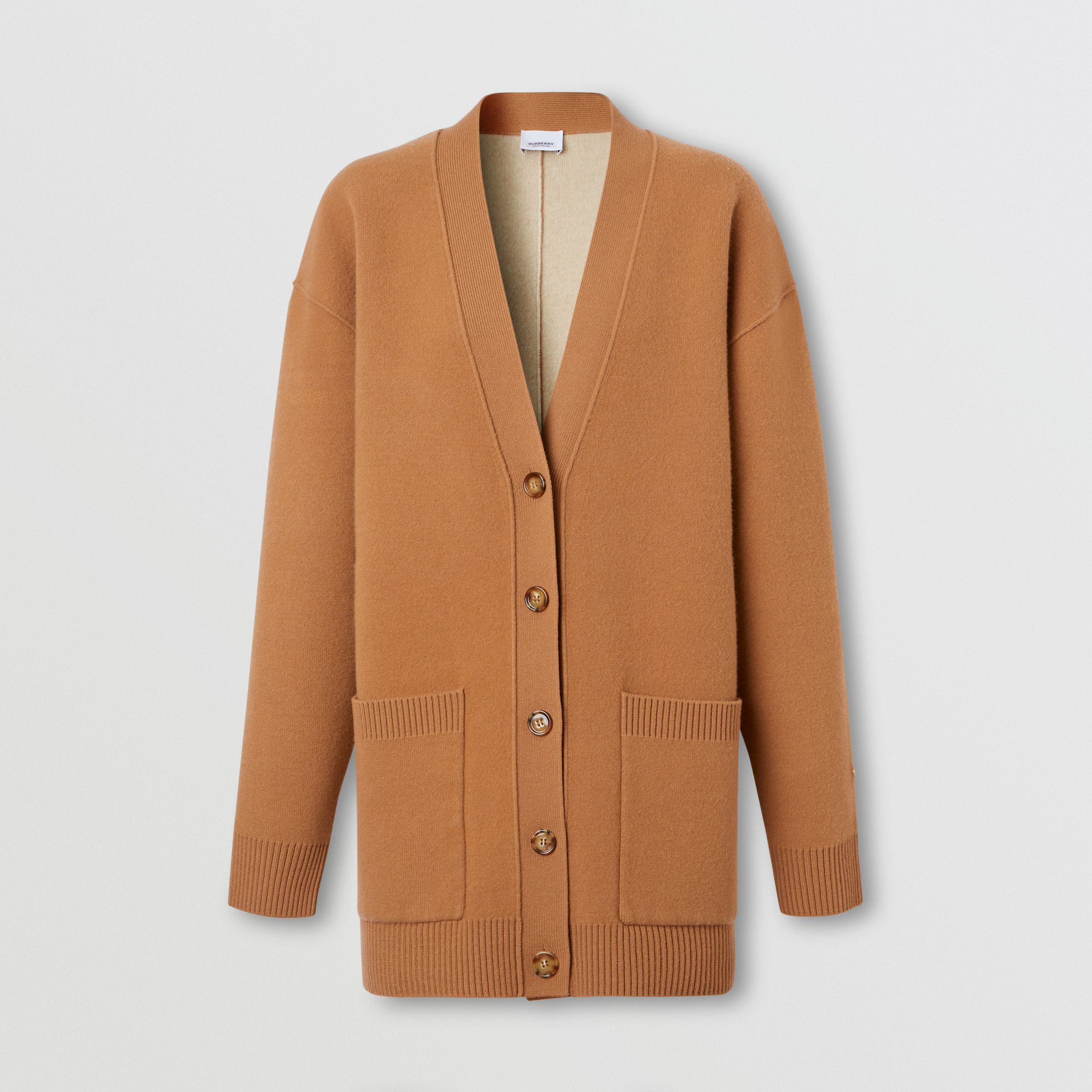 Merino Wool Cashmere Blend Oversized Cardigan in Warm Camel - Women | Burberry - 4