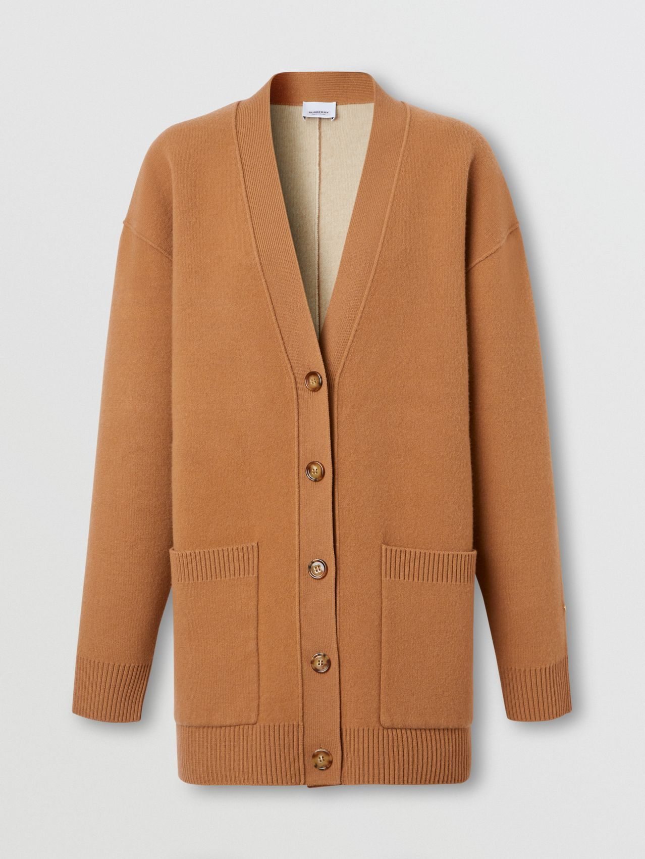 Merino Wool Cashmere Blend Oversized Cardigan in Warm Camel