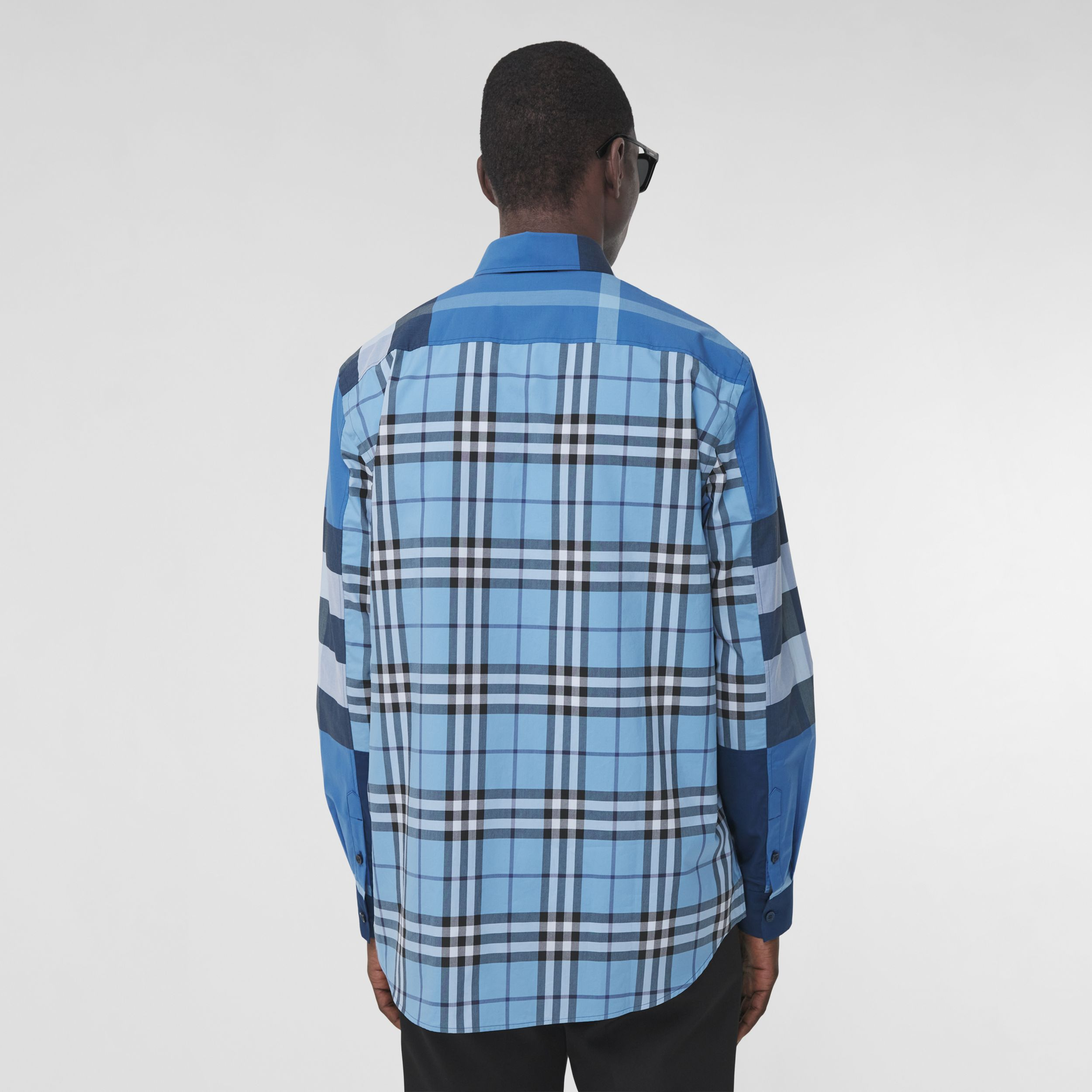 Patchwork Check Cotton Poplin Shirt in Vivid Cobalt - Men | Burberry United Kingdom - 3
