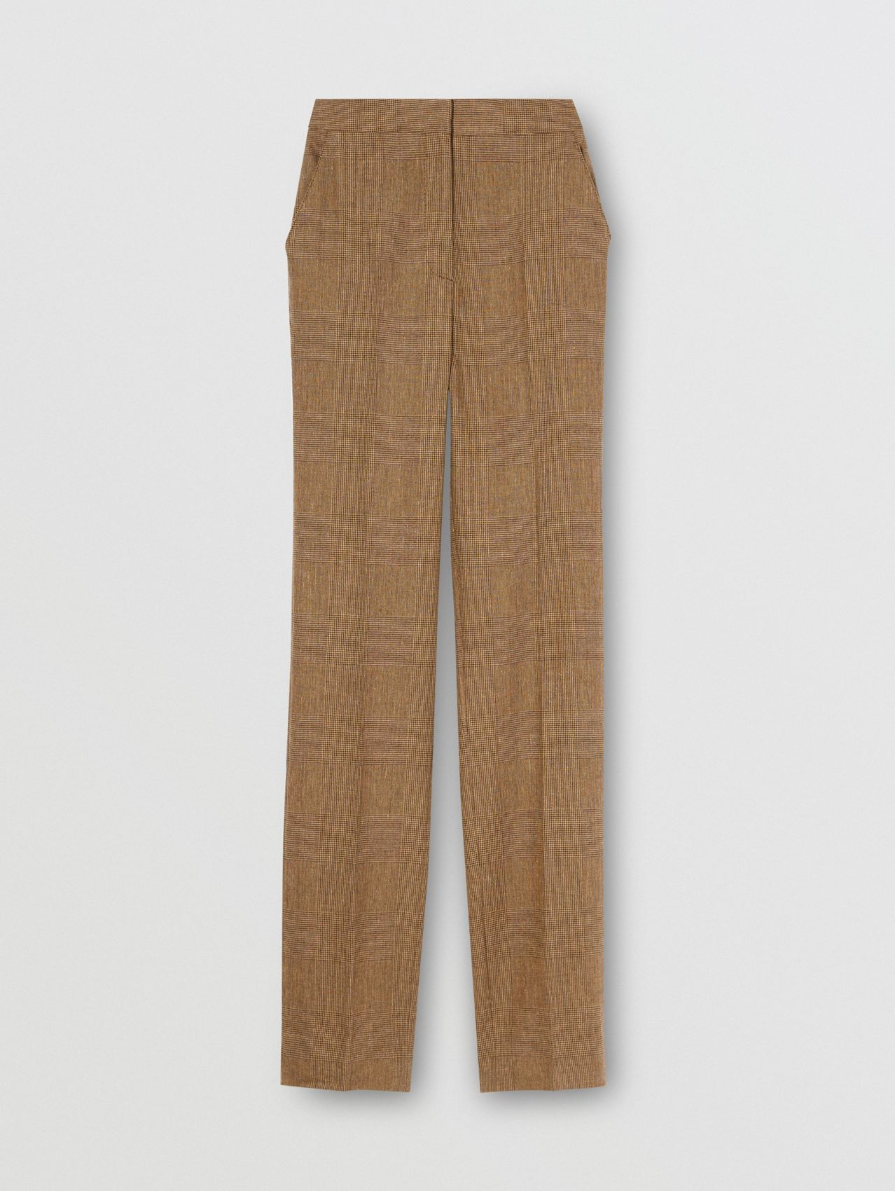 Prince of Wales Check Linen Wool Cashmere Trousers in Brown