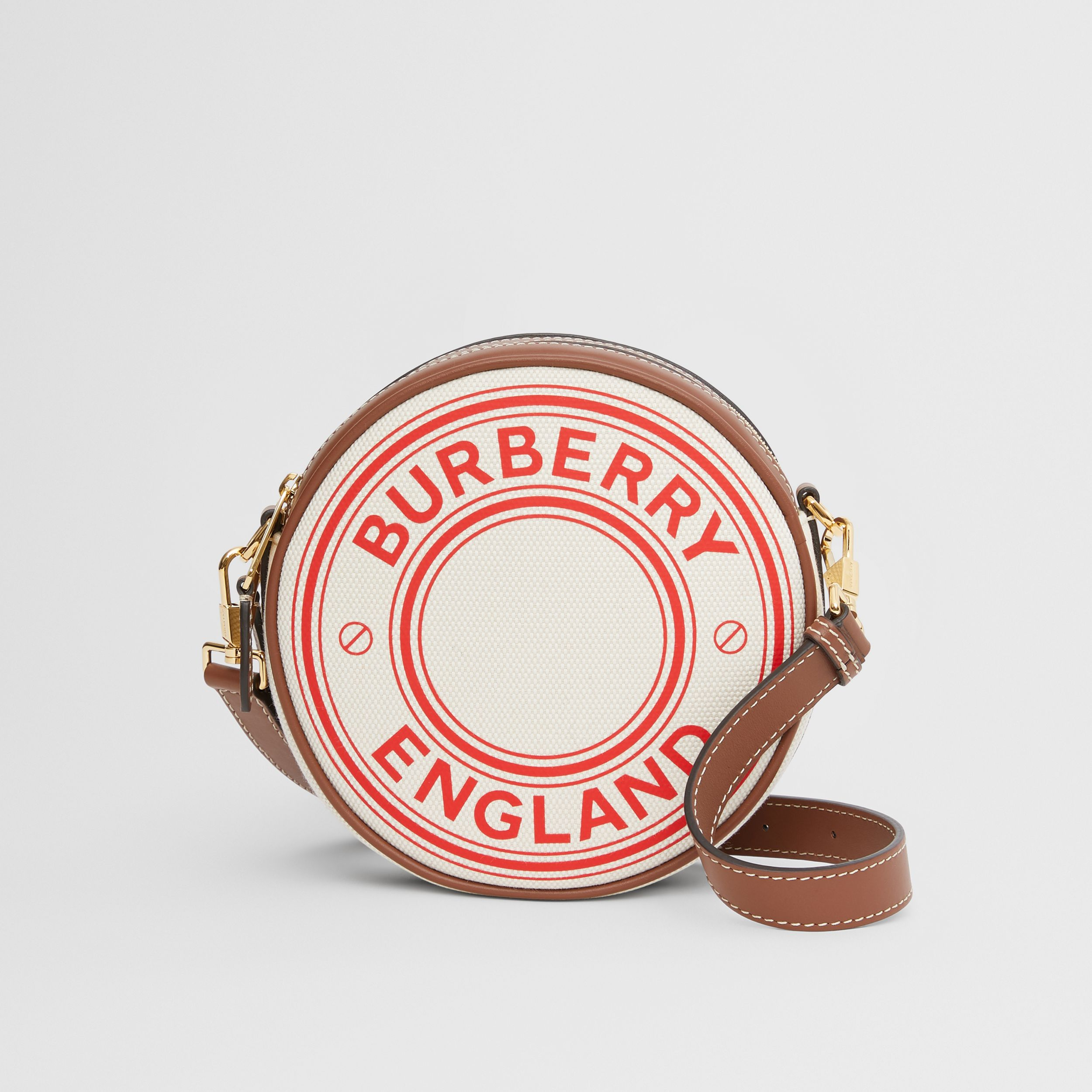 Logo Graphic Canvas and Leather Louise Bag in Natural/tan/fiery Red - Women | Burberry United States - 1