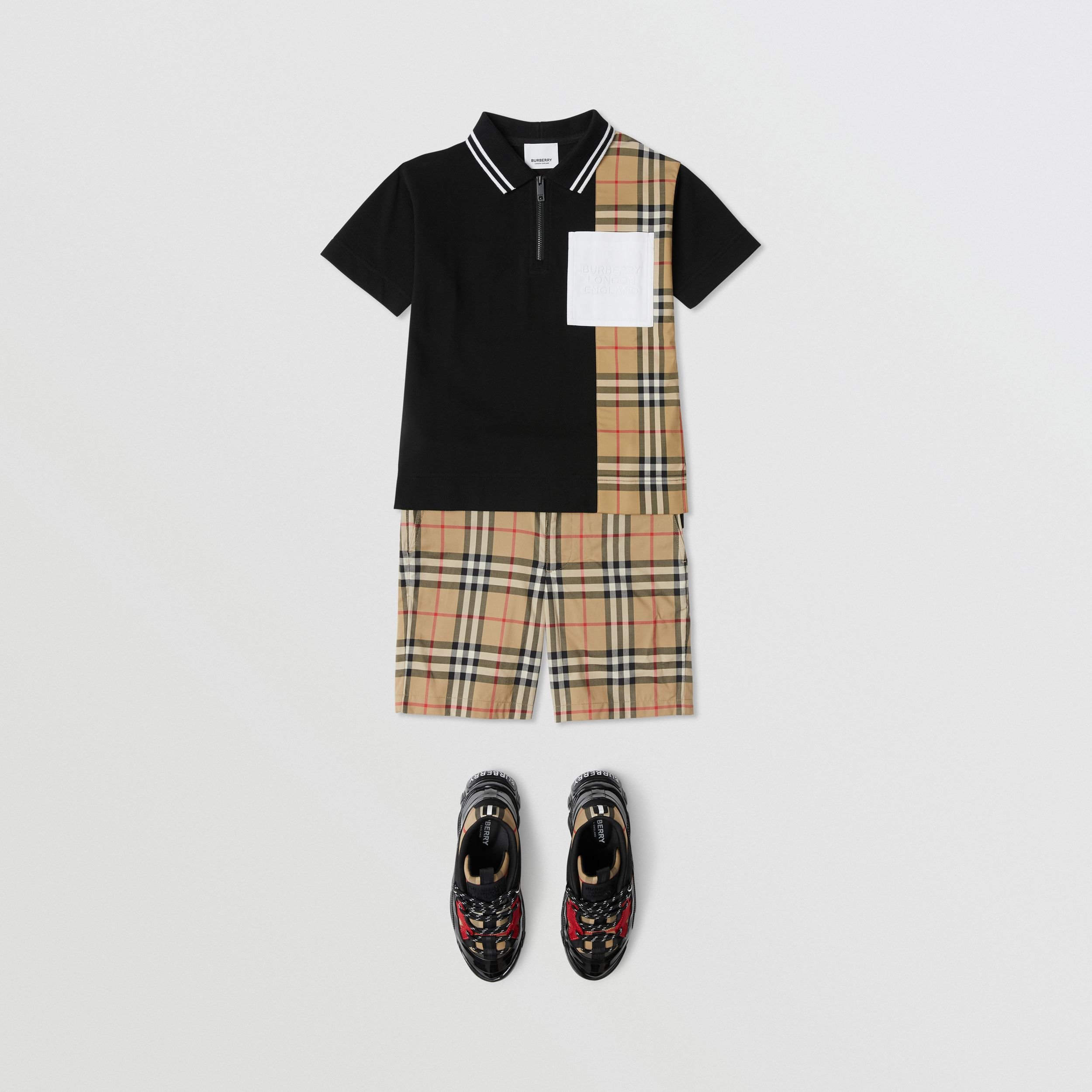 Vintage Check Panel Cotton Zip-front Polo Shirt in Black | Burberry - 3