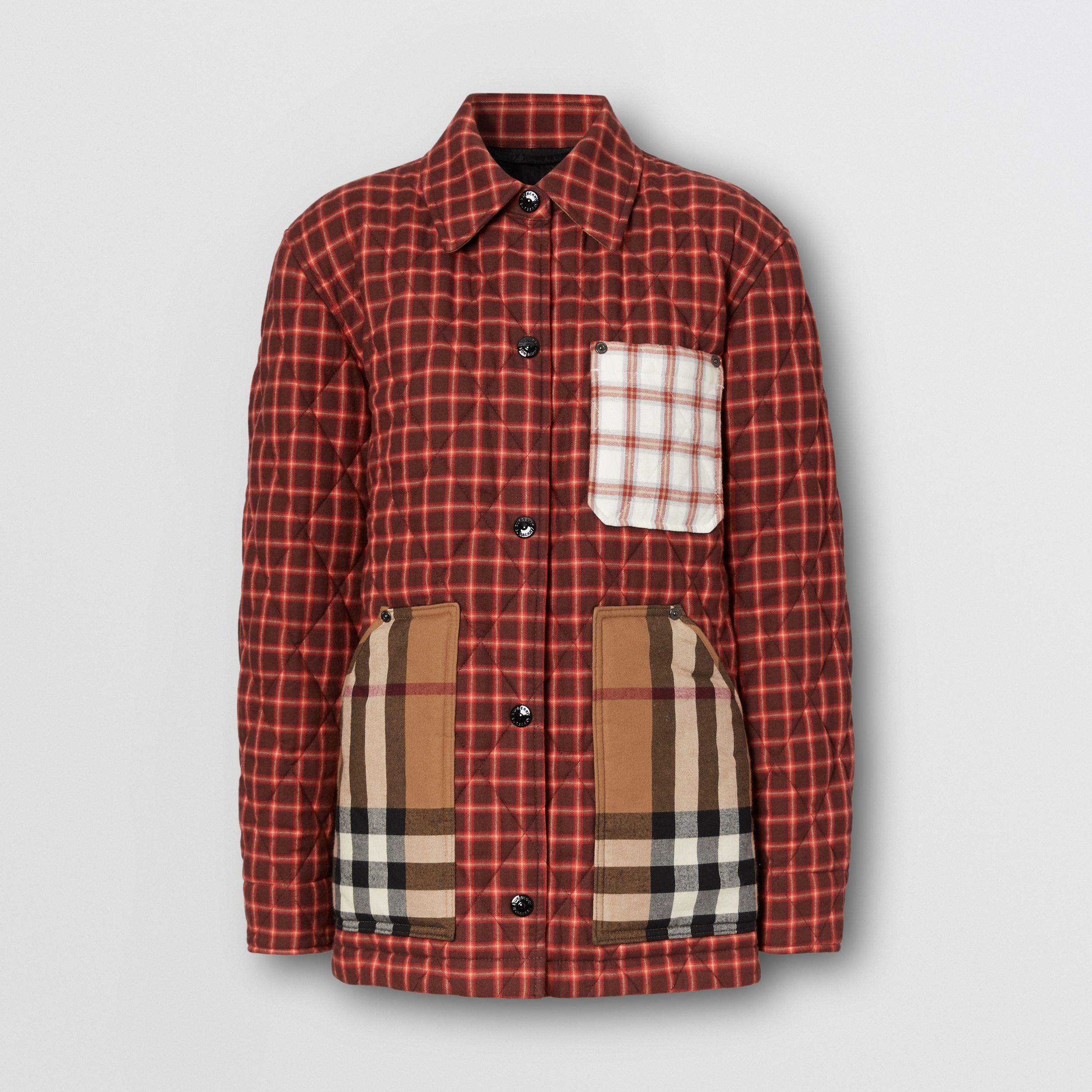 Contrast Pocket Check Cotton Flannel Overshirt in Burgundy - Women | Burberry - 4