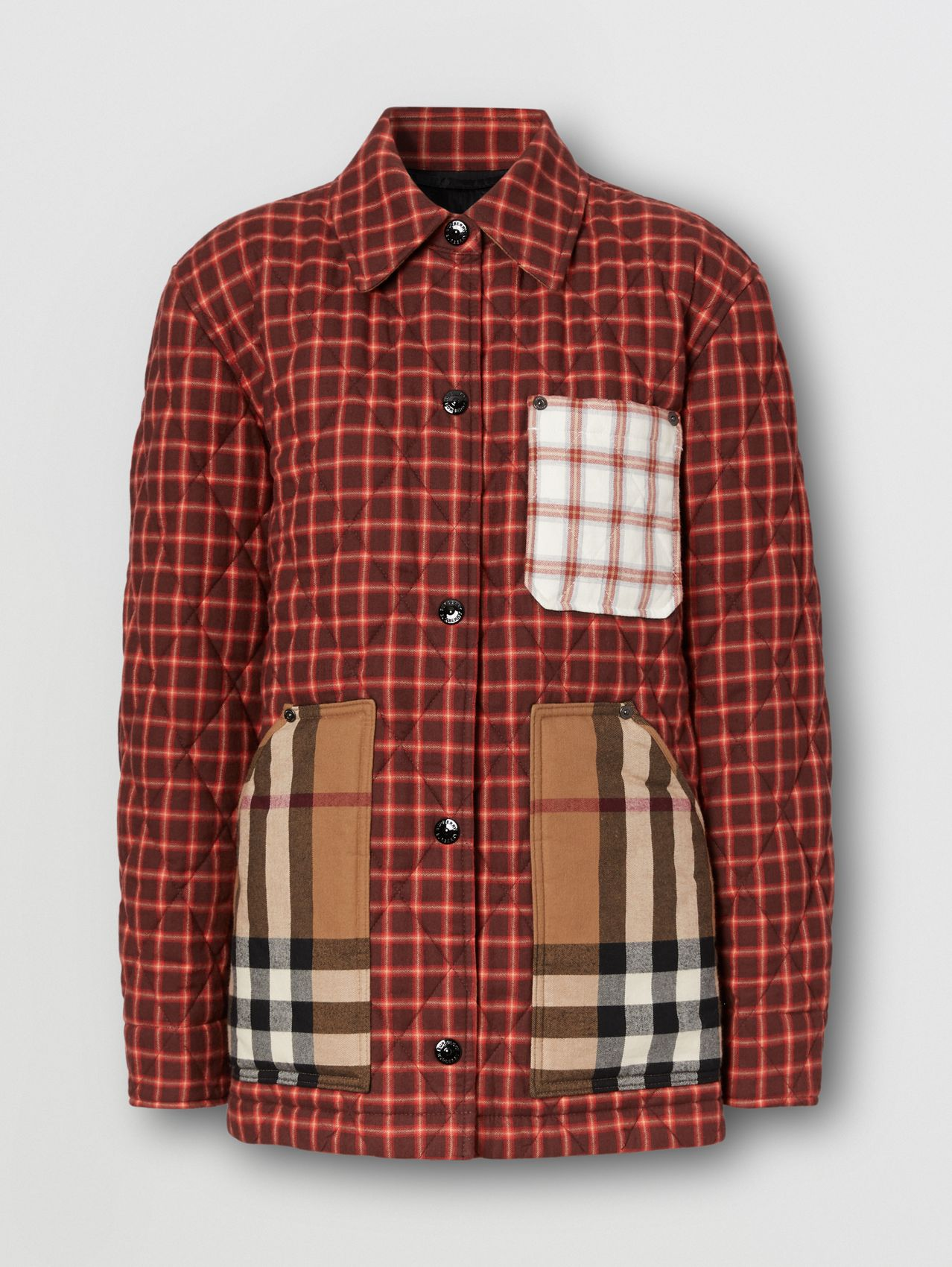 Contrast Pocket Check Cotton Flannel Overshirt in Burgundy