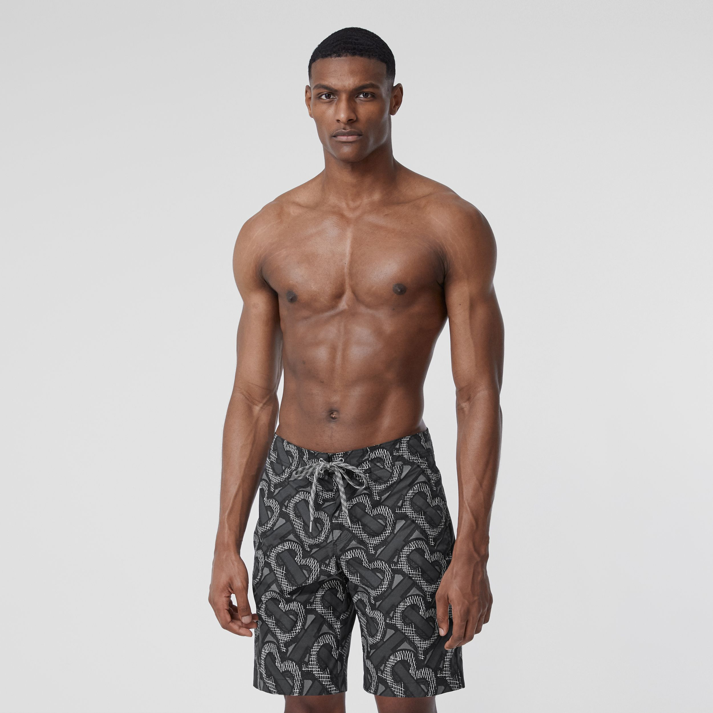 Monogram Print Swim Shorts in Graphite - Men | Burberry - 3