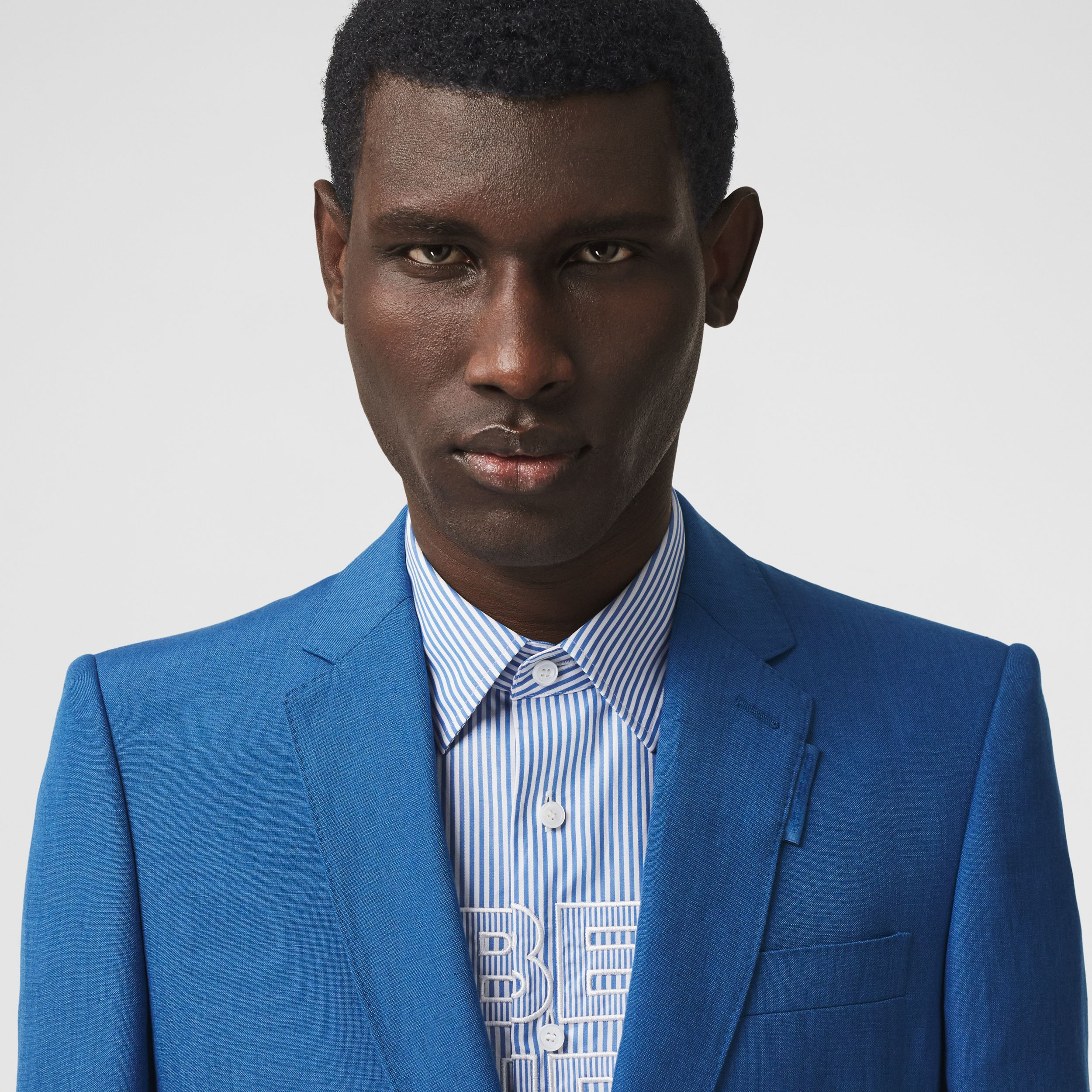 Classic Fit Linen Mohair Silk Tailored Jacket in Dark Cerulean Blue - Men | Burberry Hong Kong S.A.R. - 2