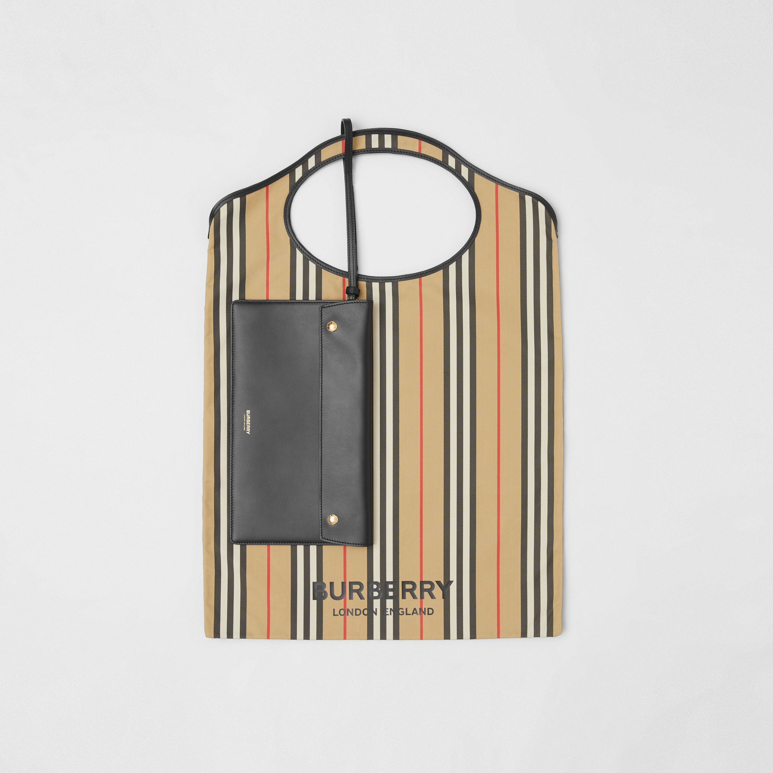 Icon Stripe ECONYL® Packaway Pocket Tote in Archive Beige | Burberry - 1