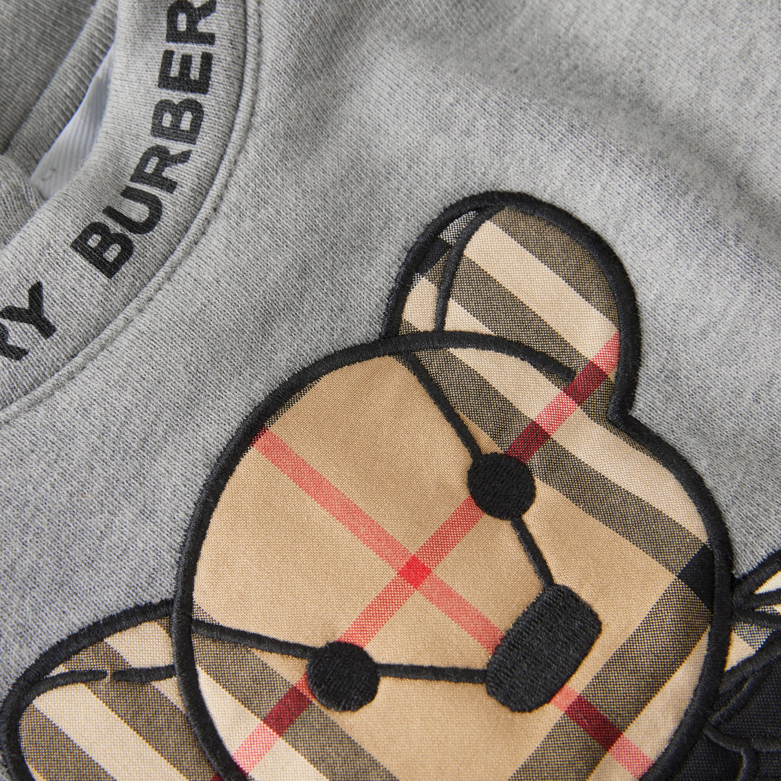 Thomas Bear Appliqué Cotton Sweater Dress in Grey Melange - Children | Burberry - 2
