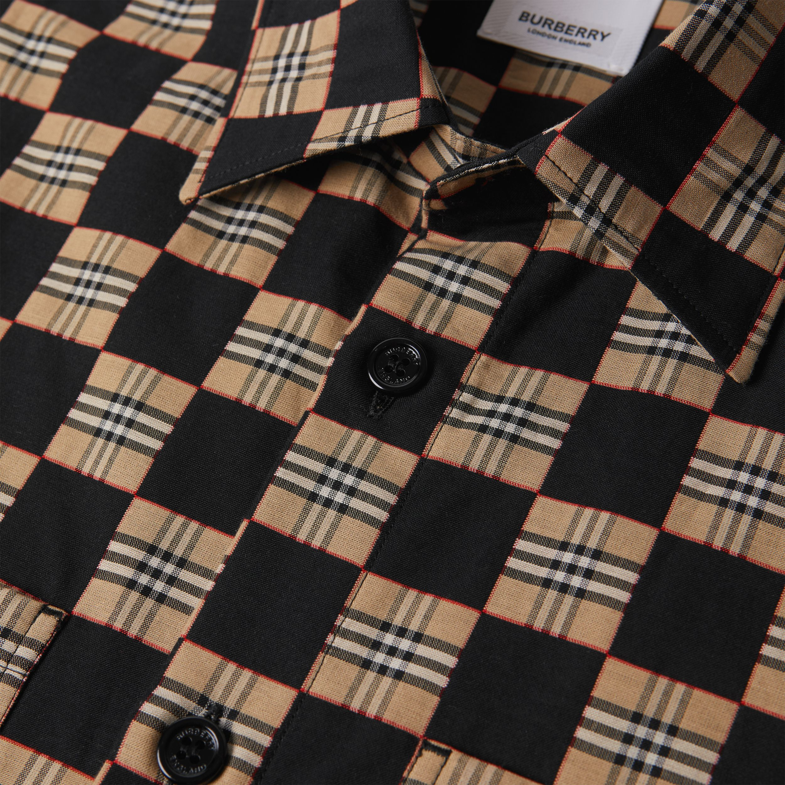 Short-sleeve Chequer Print Cotton Shirt | Burberry - 4