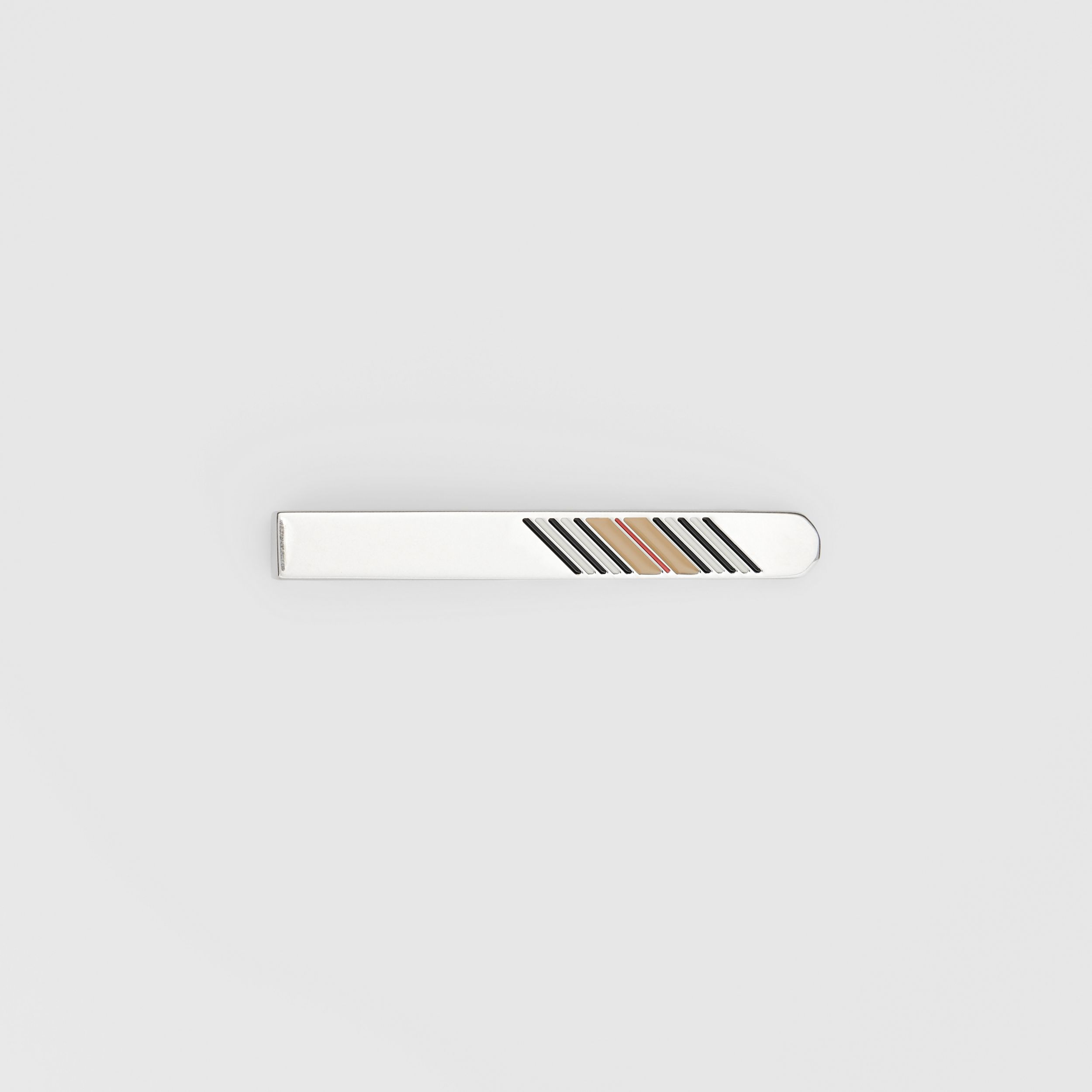 Icon Stripe Detail Palladium-plated Tie Bar - Men | Burberry - 1