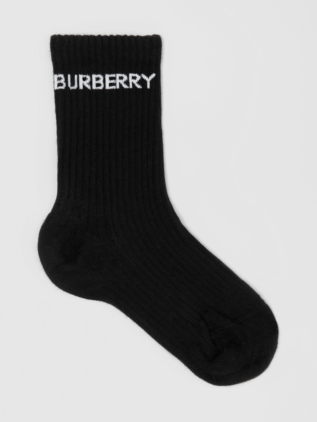 Logo Intarsia Technical Stretch Cotton Socks in Black