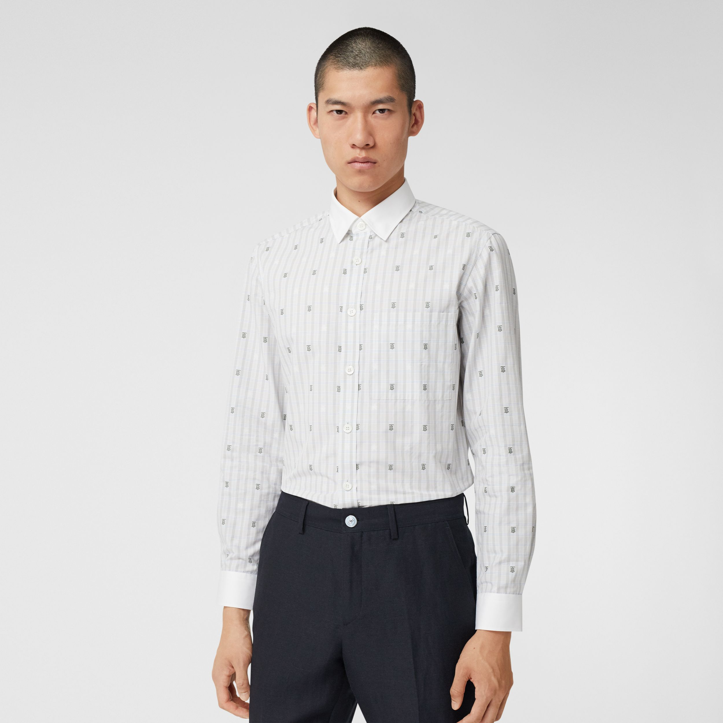 Slim Fit Star and Monogram Motif Check Cotton Shirt in Light Grey - Men | Burberry - 1