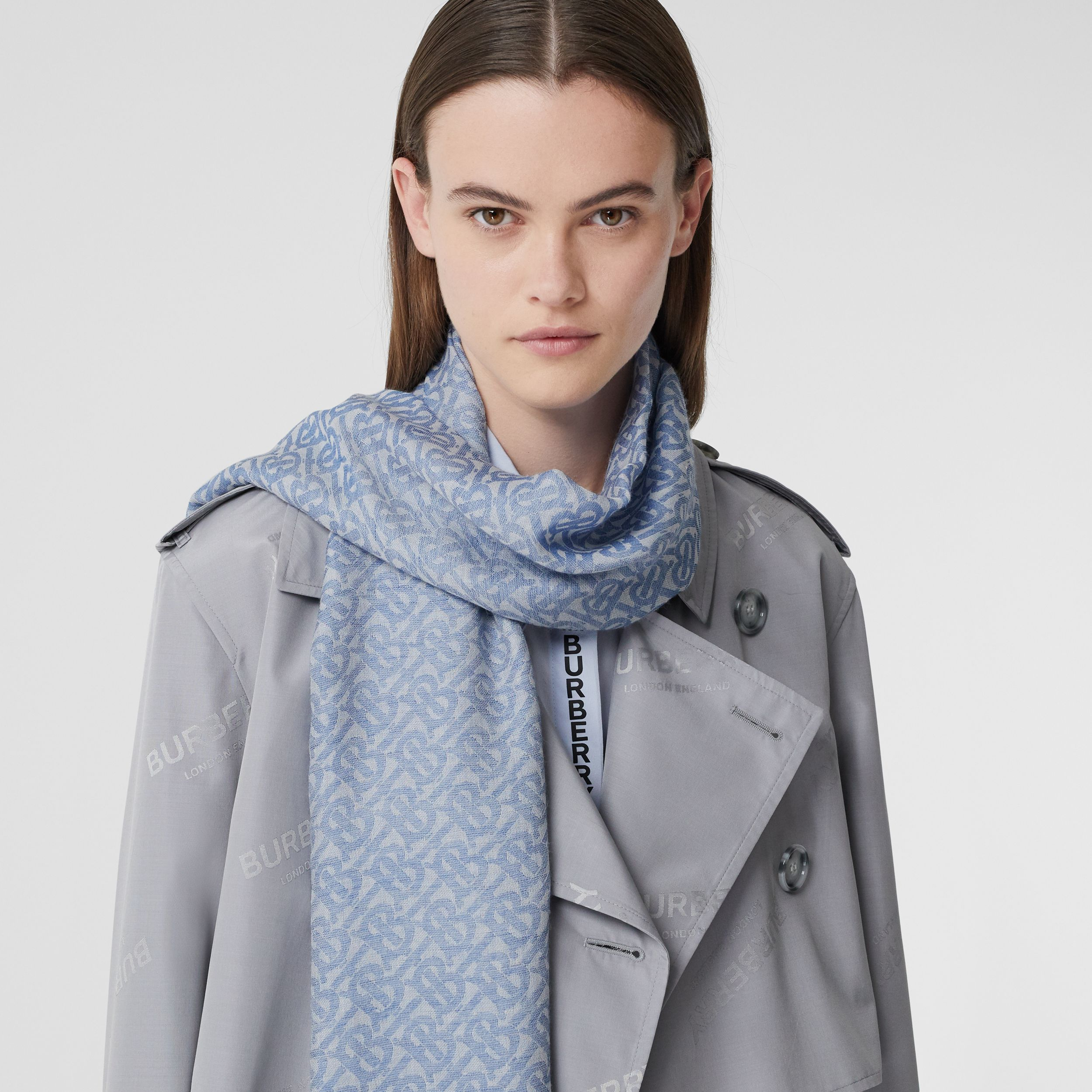 Monogram Wool Silk Jacquard Scarf in Denim Blue | Burberry - 2