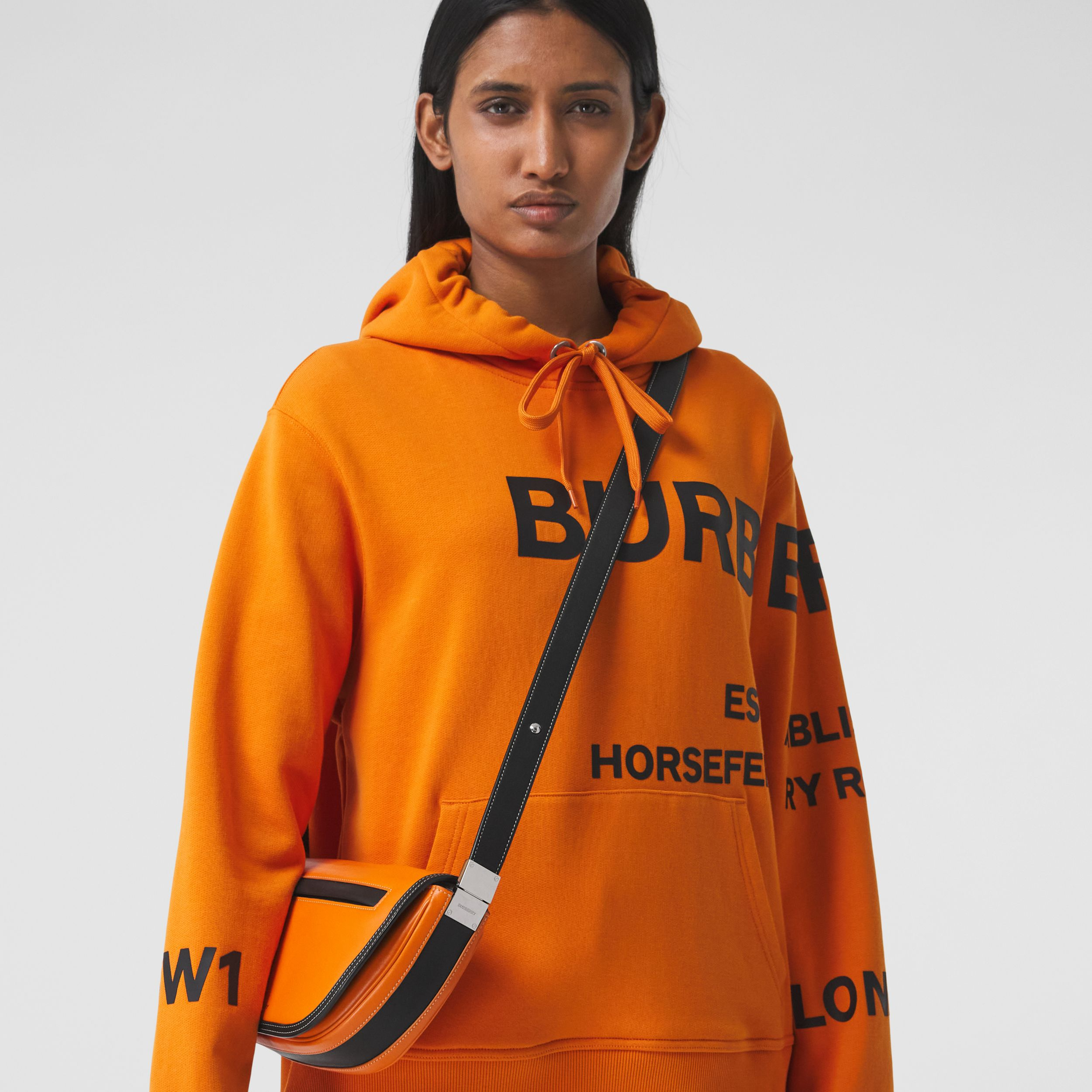 Small Two-tone Leather Olympia Bag in Deep Orange - Women | Burberry United Kingdom - 3