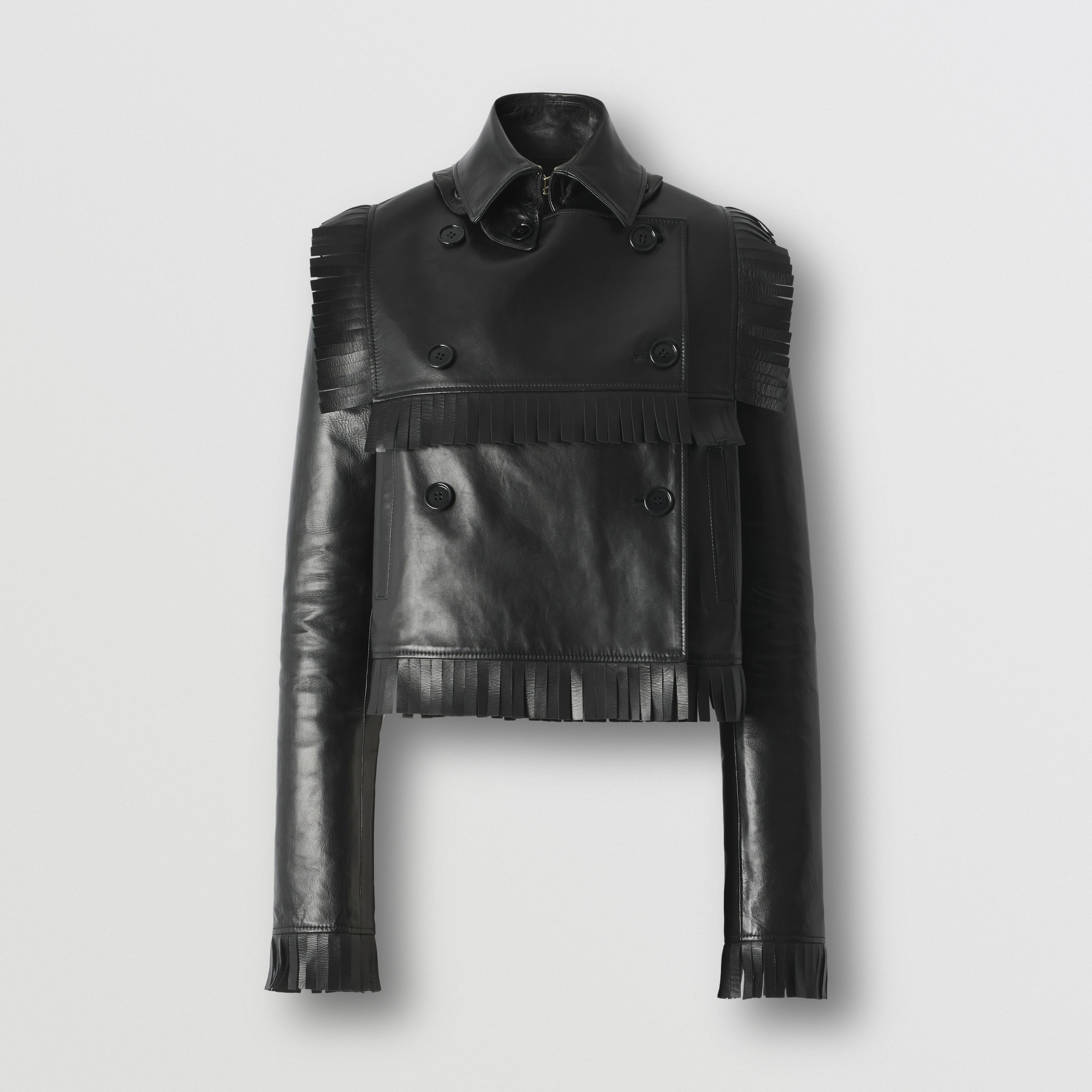 Trench coat cropped in pelle di agnello plongé con frange (Nero) - Donna   Burberry - 4