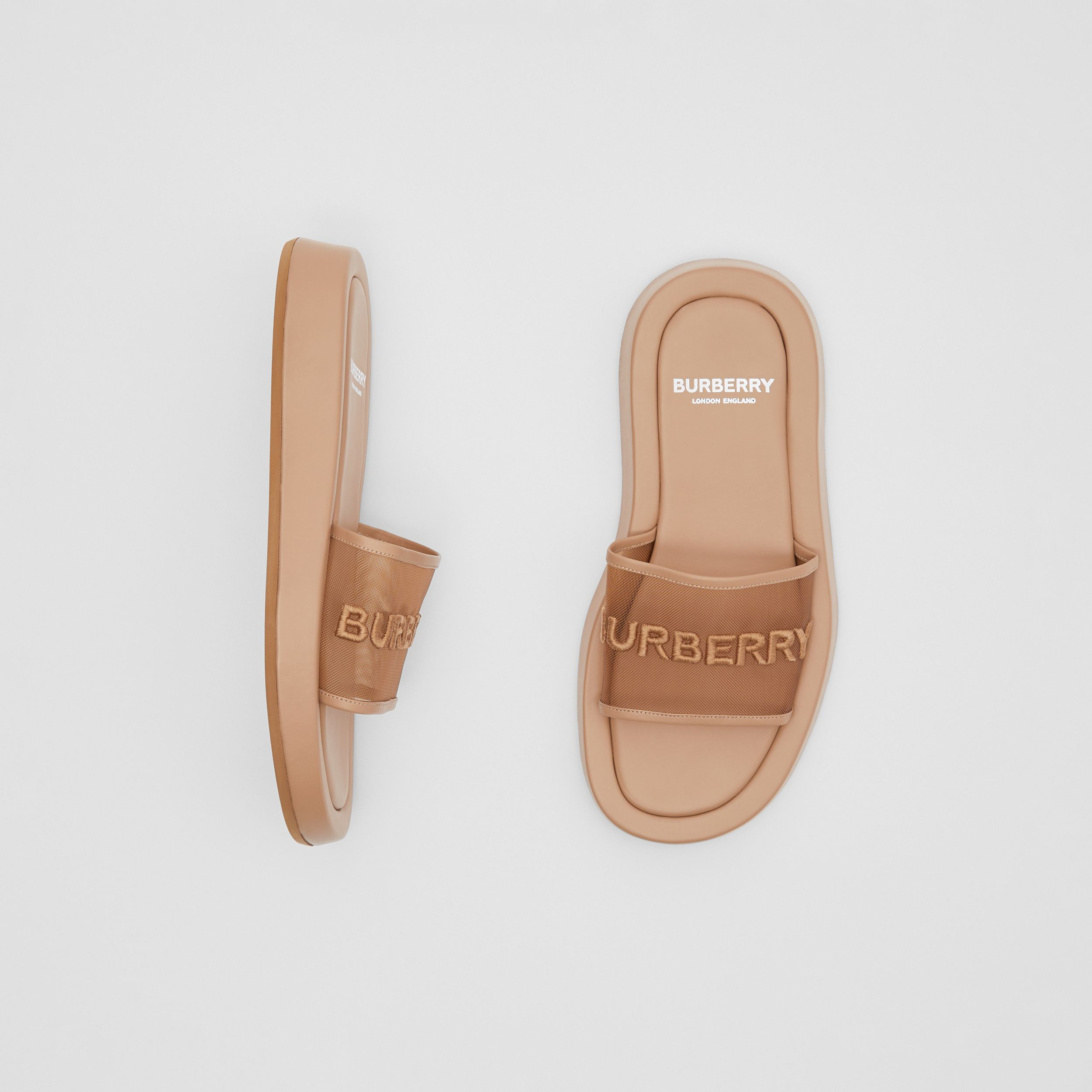 Embroidered Logo Mesh and Leather Slides in Camel - Women | Burberry - 1