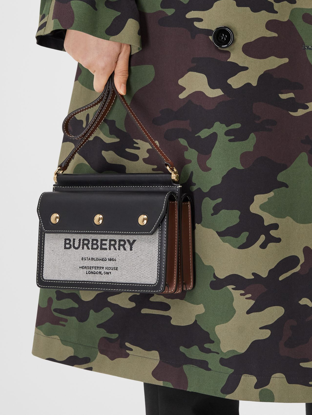 Mini Horseferry Print Title Bag with Pocket Detail in Black/tan