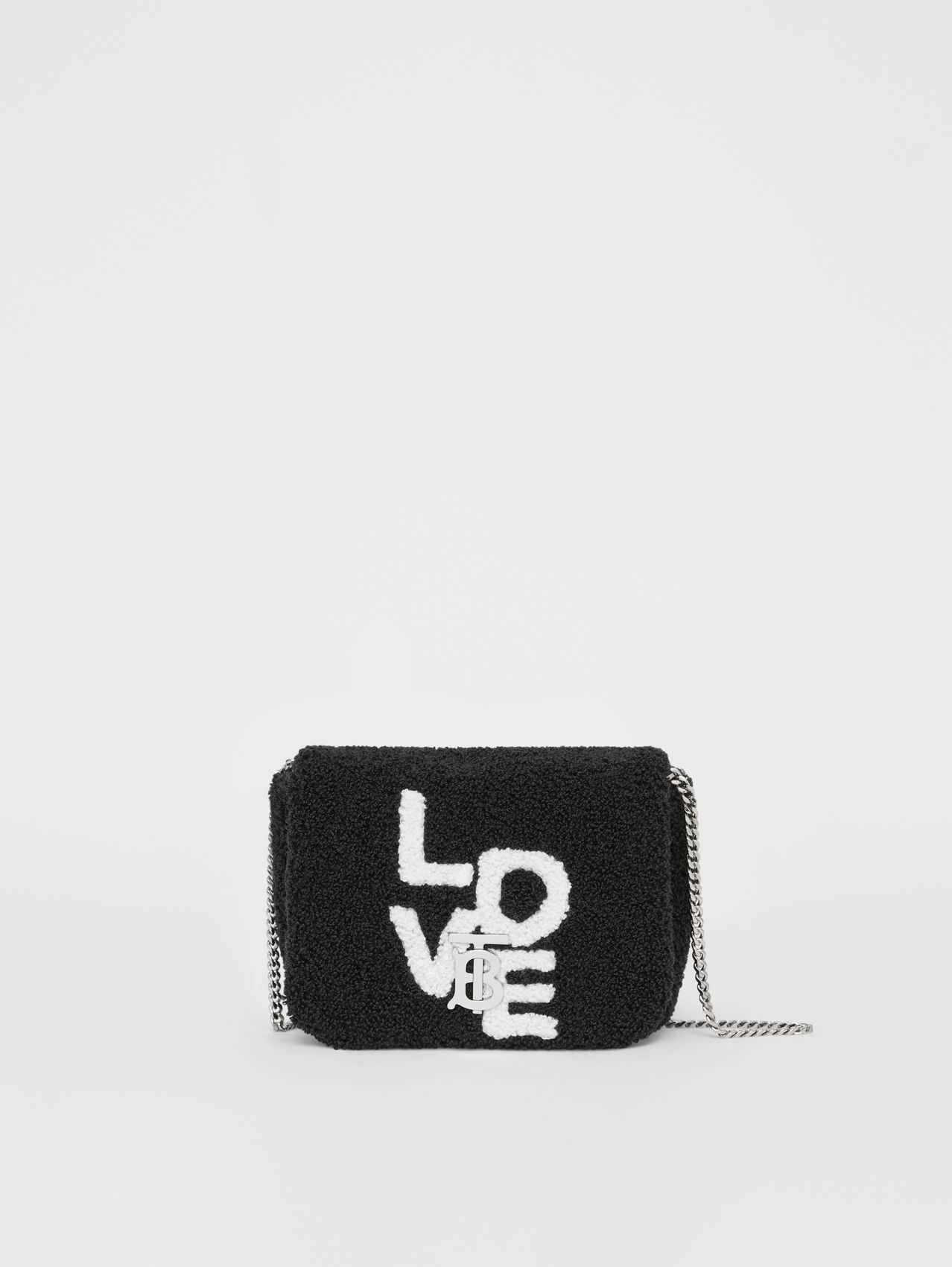 Micro Love Motif Towelling Lola Bag in Black