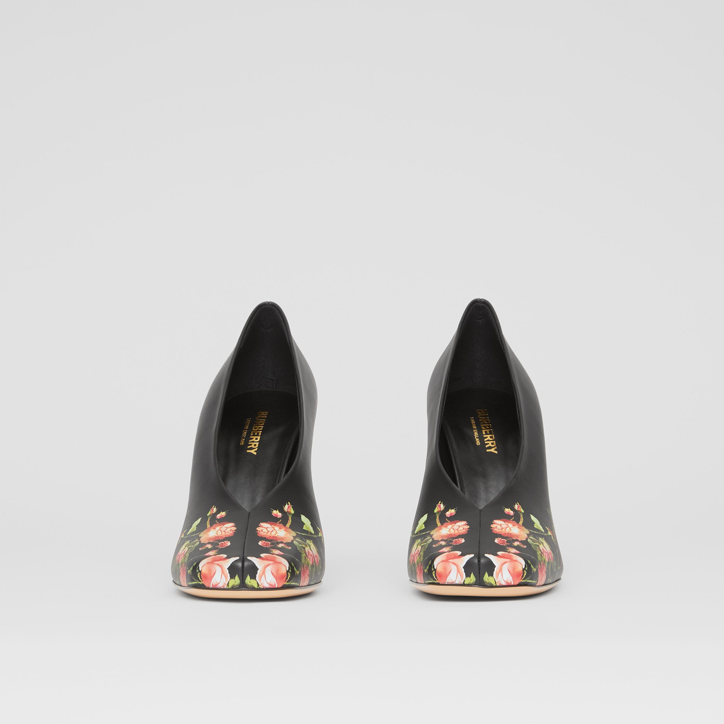 Rose Print Leather Sculptural Pumps in Floral - Women | Burberry - 4