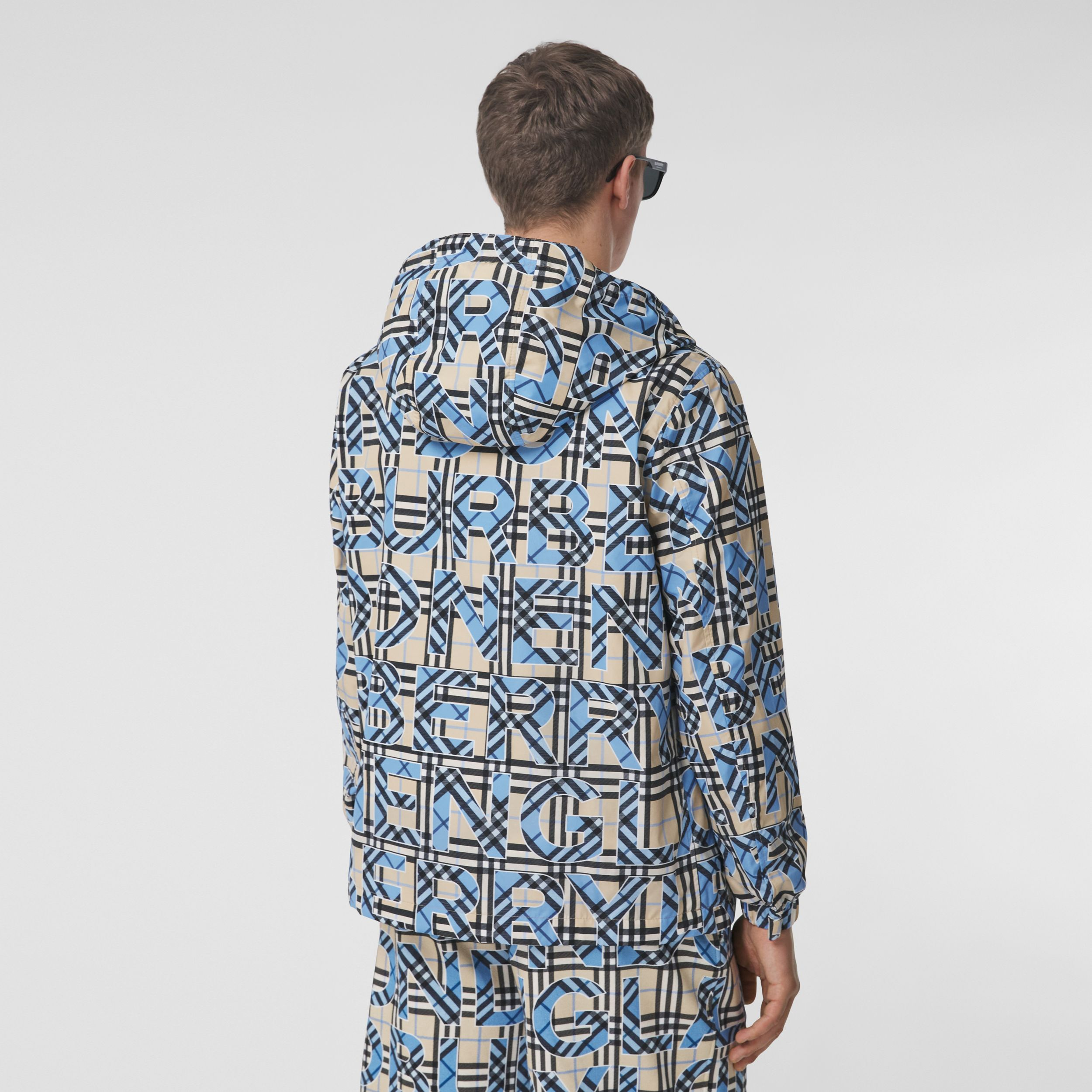 Logo and Vintage Check Print Hooded Jacket in Vivid Cobalt - Men | Burberry - 3