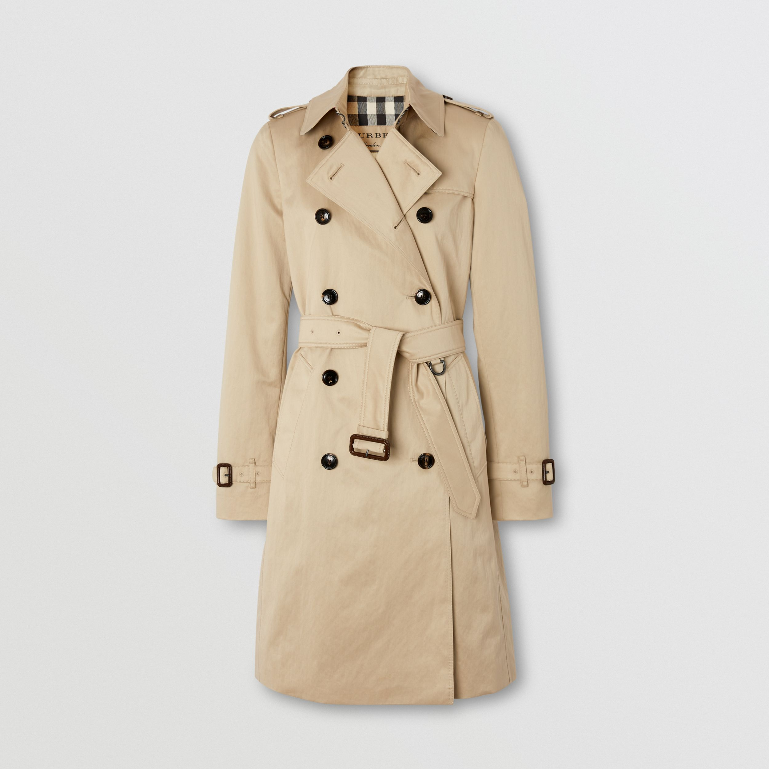 Technical Cotton Trench Coat in Stone - Women | Burberry - 1