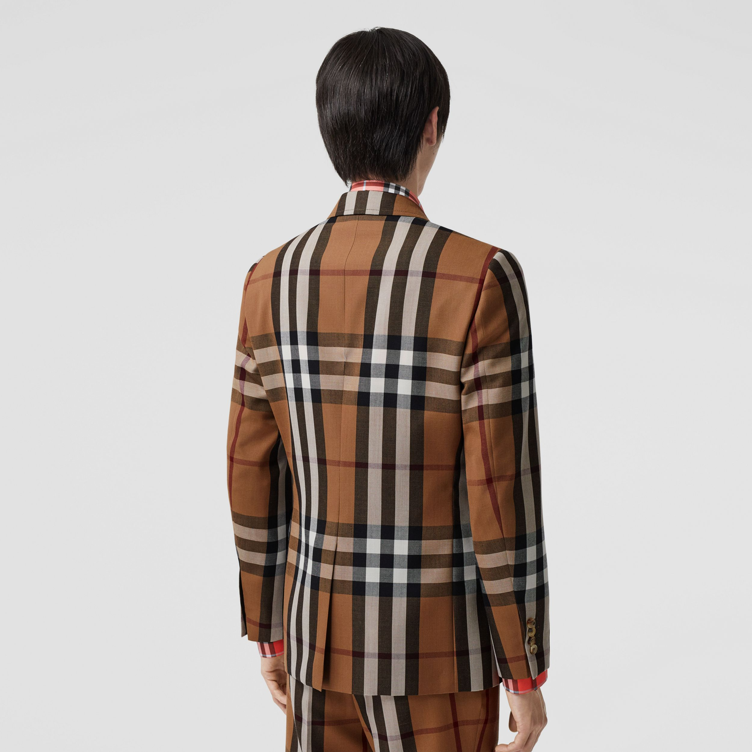 Slim Fit Check Wool Tailored Jacket in Birch Brown - Men | Burberry - 3