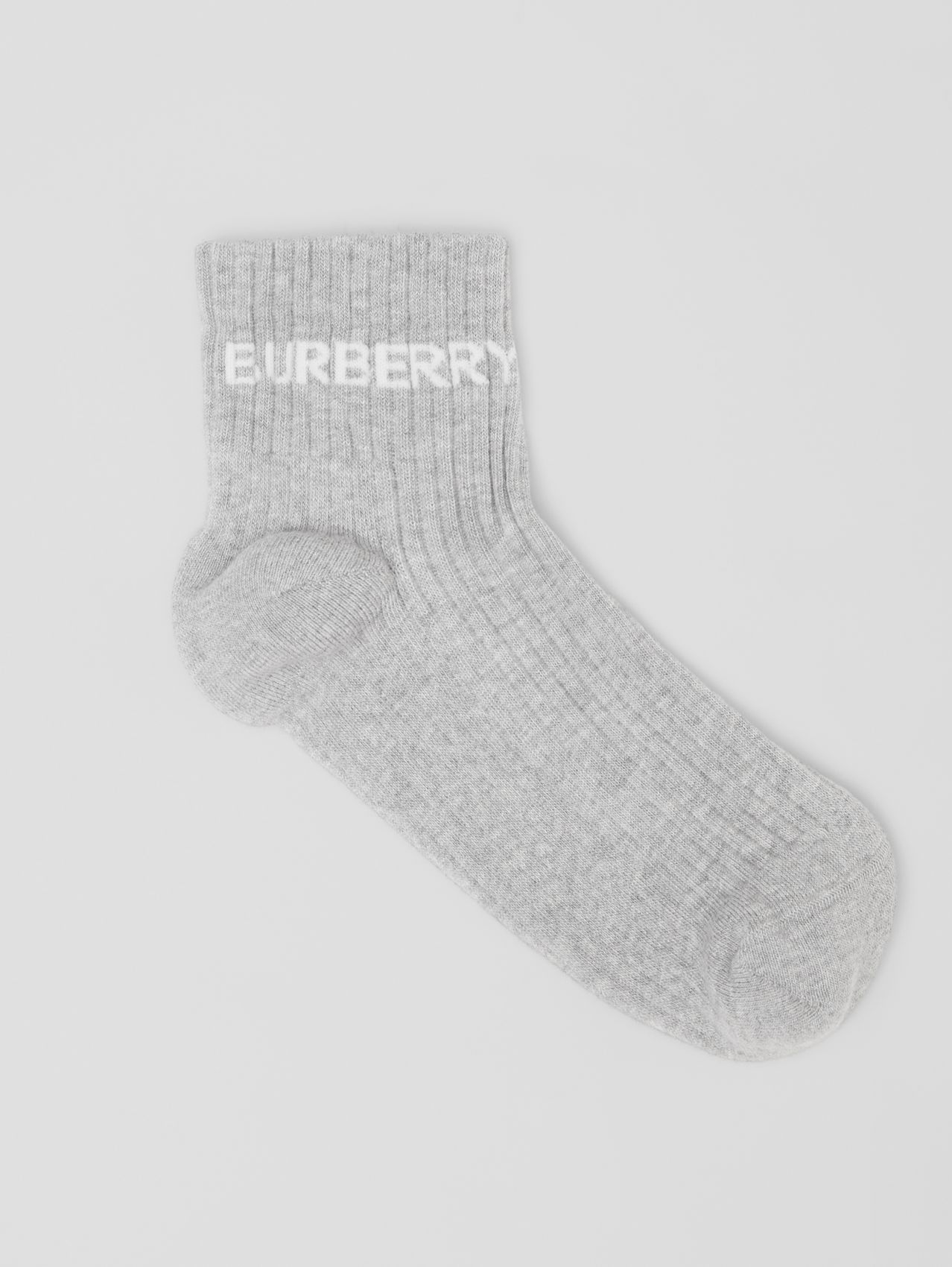 Logo Intarsia Technical Stretch Cotton Ankle Socks in Grey Melange