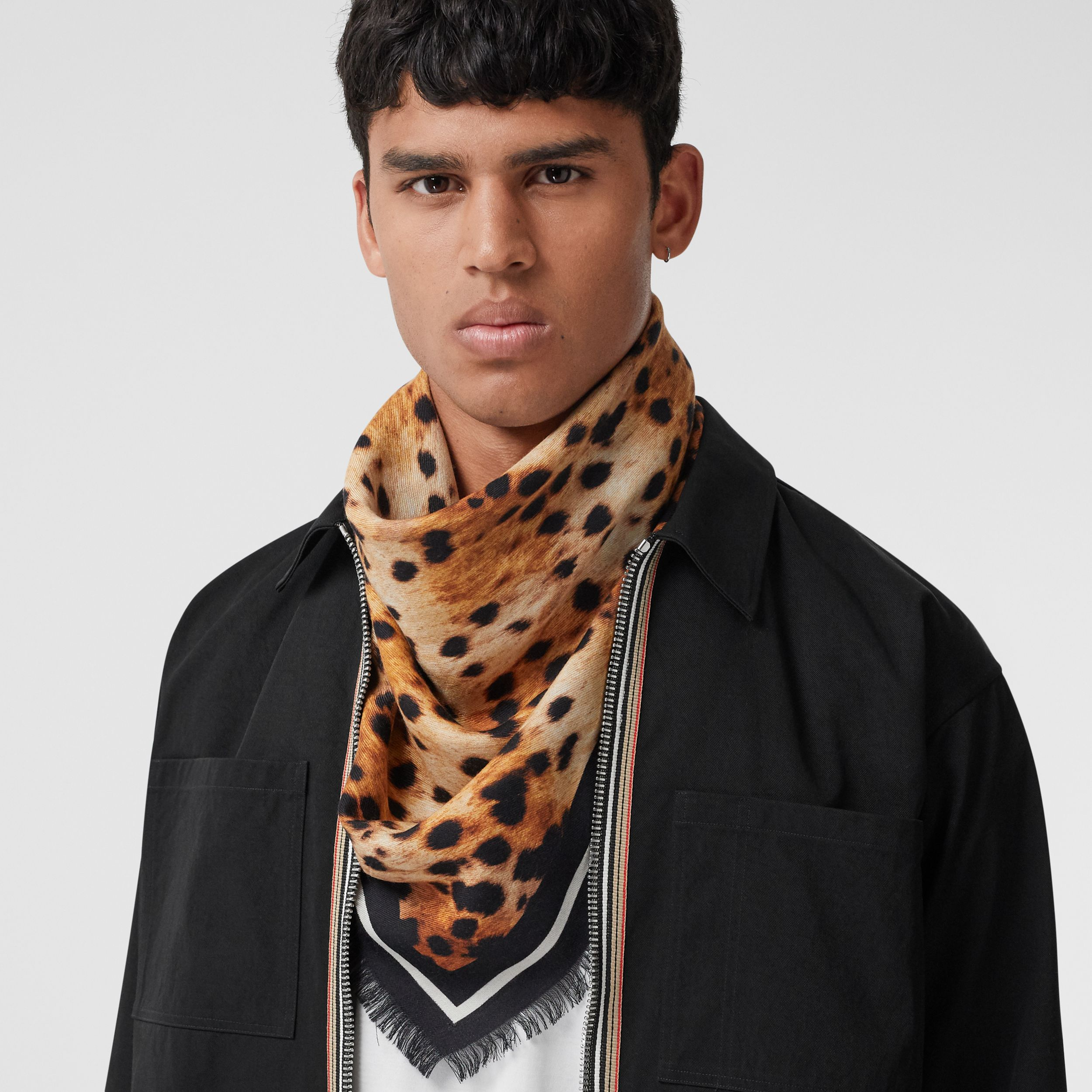 Montage Print Cashmere Large Square Scarf in Nutmeg | Burberry - 4