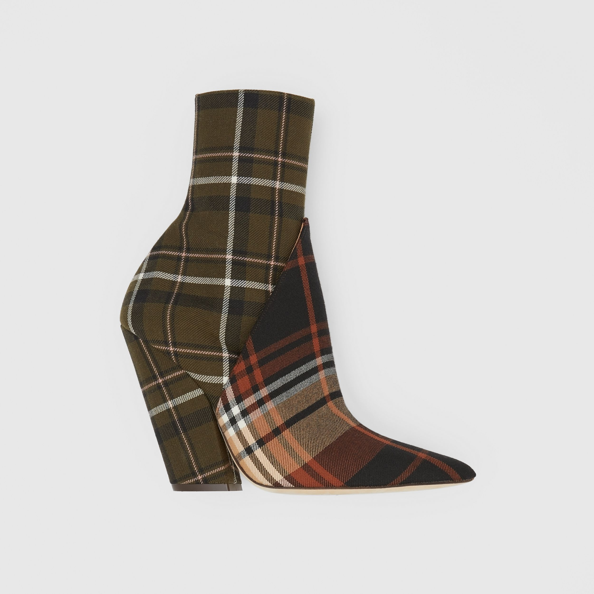 Panelled Contrast Check Wool Ankle Boots in Dark Khaki Green - Women | Burberry Hong Kong S.A.R. - 1