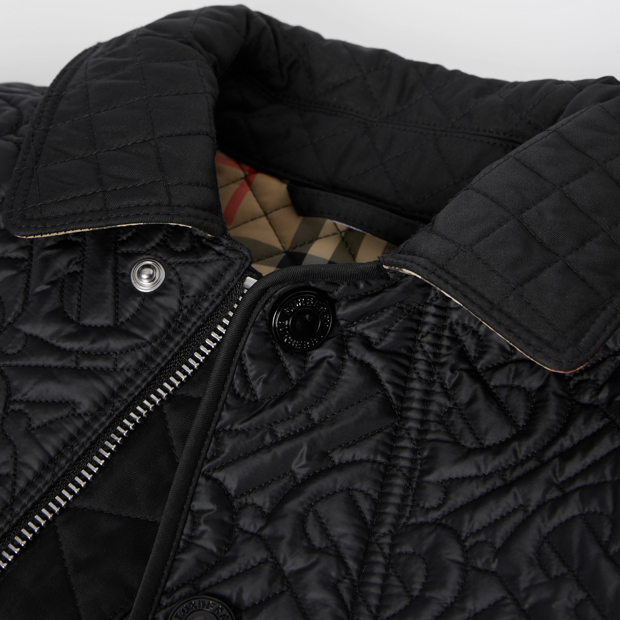 Monogram Quilted Panel Recycled Polyester Jacket in Black | Burberry - 2