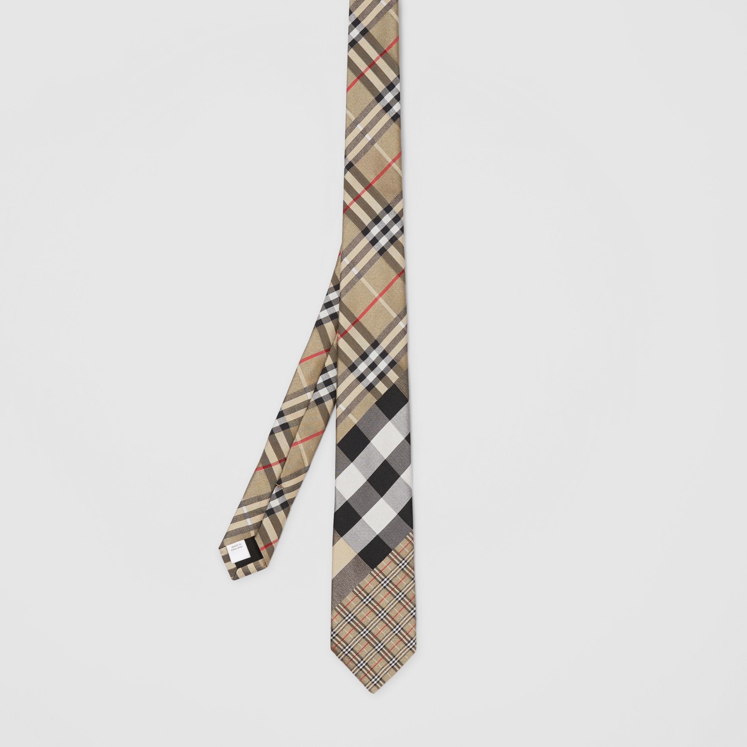 Classic Cut Check Silk Jacquard Tie in Archive Beige - Men | Burberry - 4