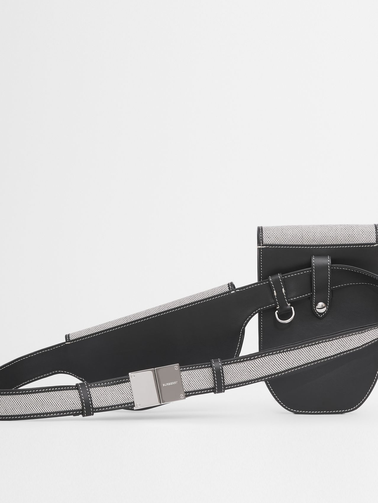 Horseferry Print Canvas and Leather Olympia Belt Bag in Black/white