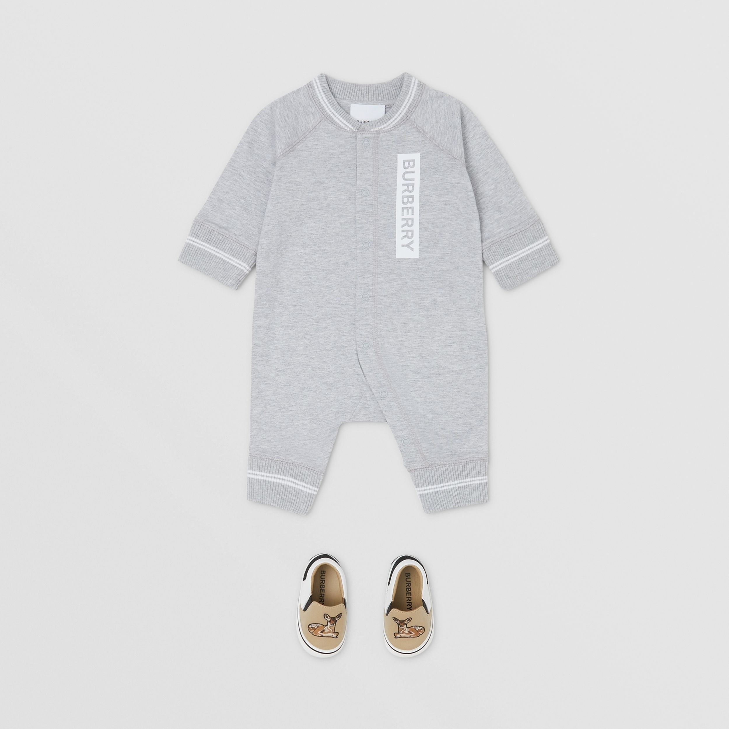 Logo and Deer Motif Cotton Jumpsuit - Children | Burberry United States - 3