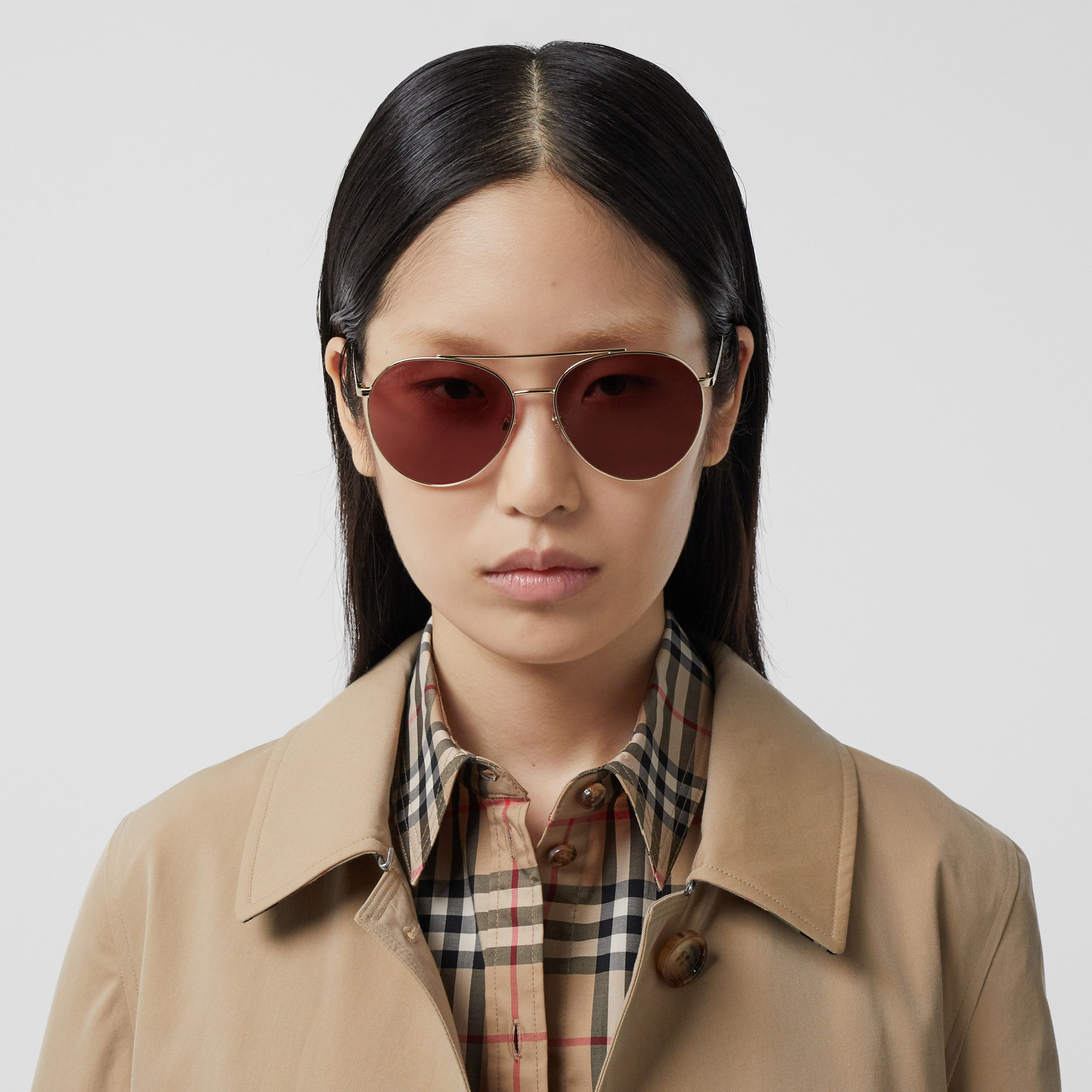 Pilot Sunglasses in Light Pink | Burberry - 3