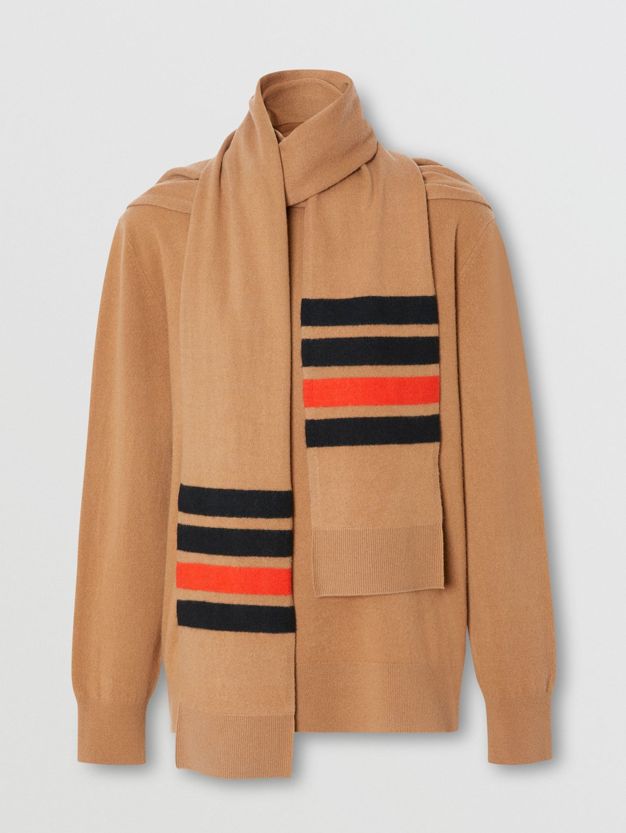 Striped Scarf Detail Merino Wool Cashmere Sweater in Beige