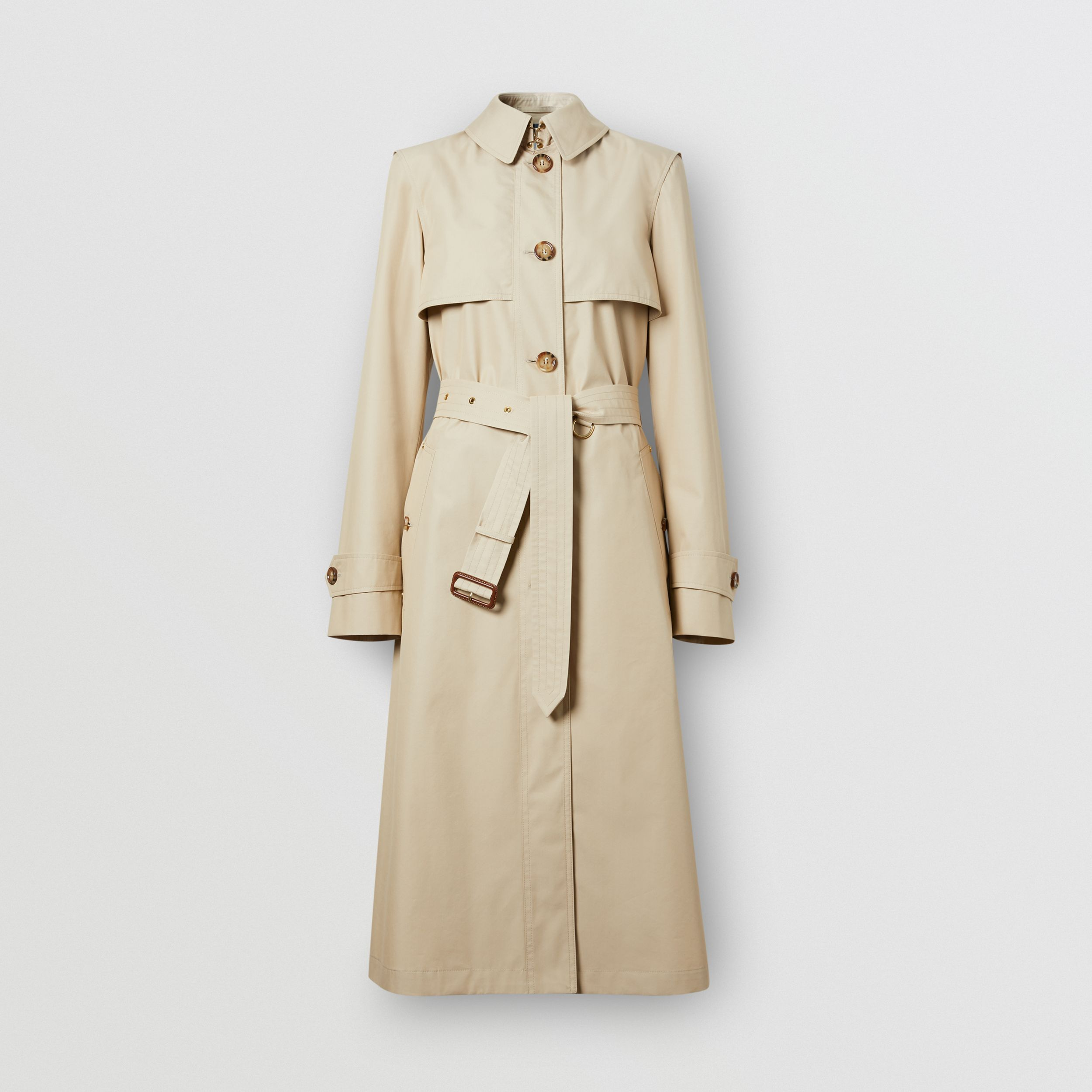 Technical Cotton Gabardine Trench Coat in Soft Fawn - Women | Burberry United Kingdom - 4