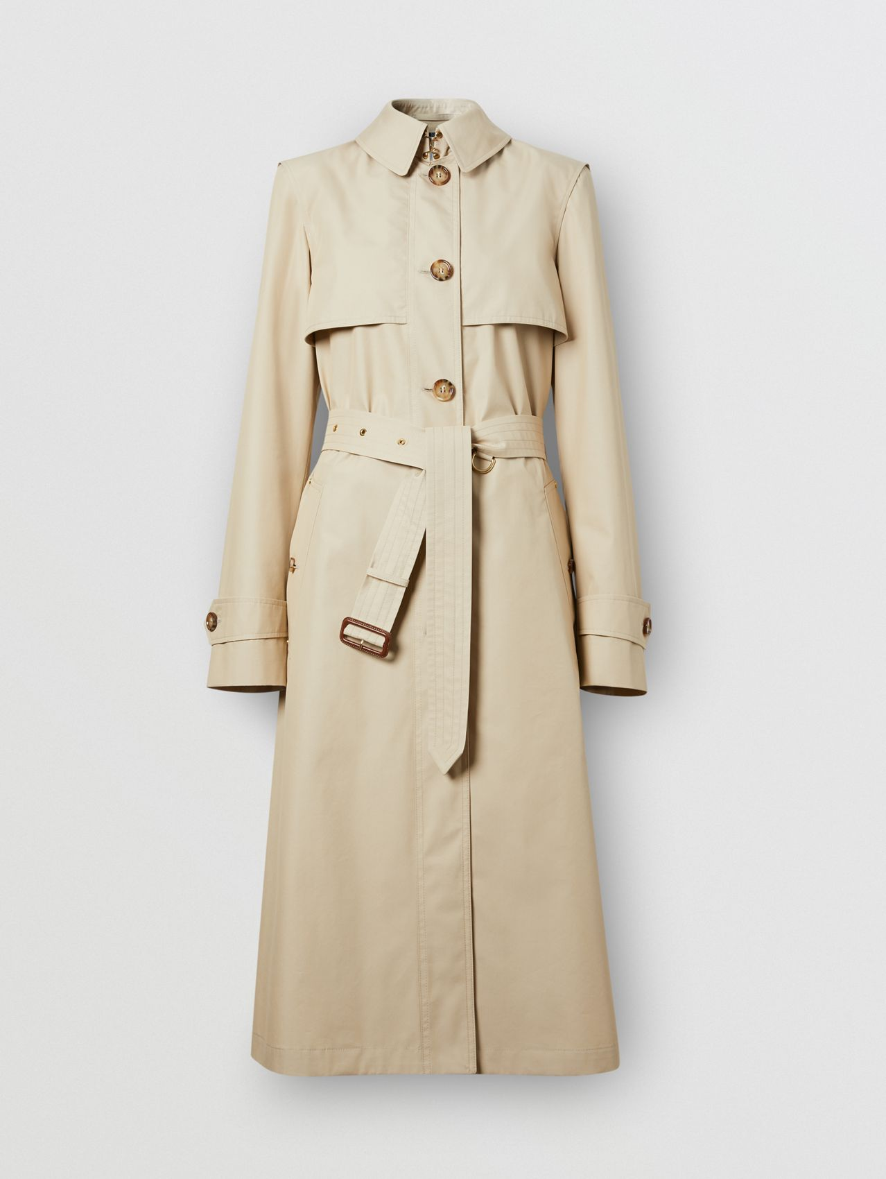 Technical Cotton Gabardine Trench Coat in Soft Fawn