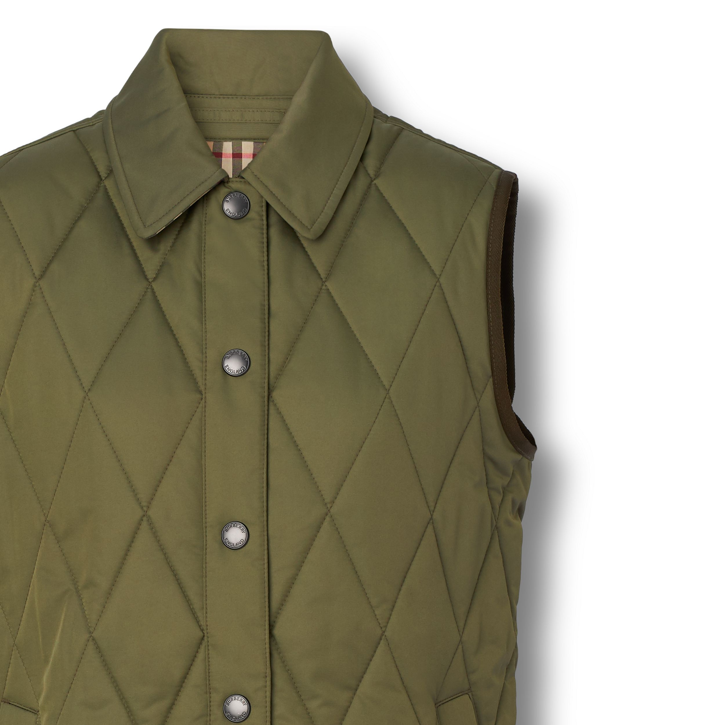 Diamond Quilted Thermoregulated Gilet in Olive Green - Women | Burberry - 3