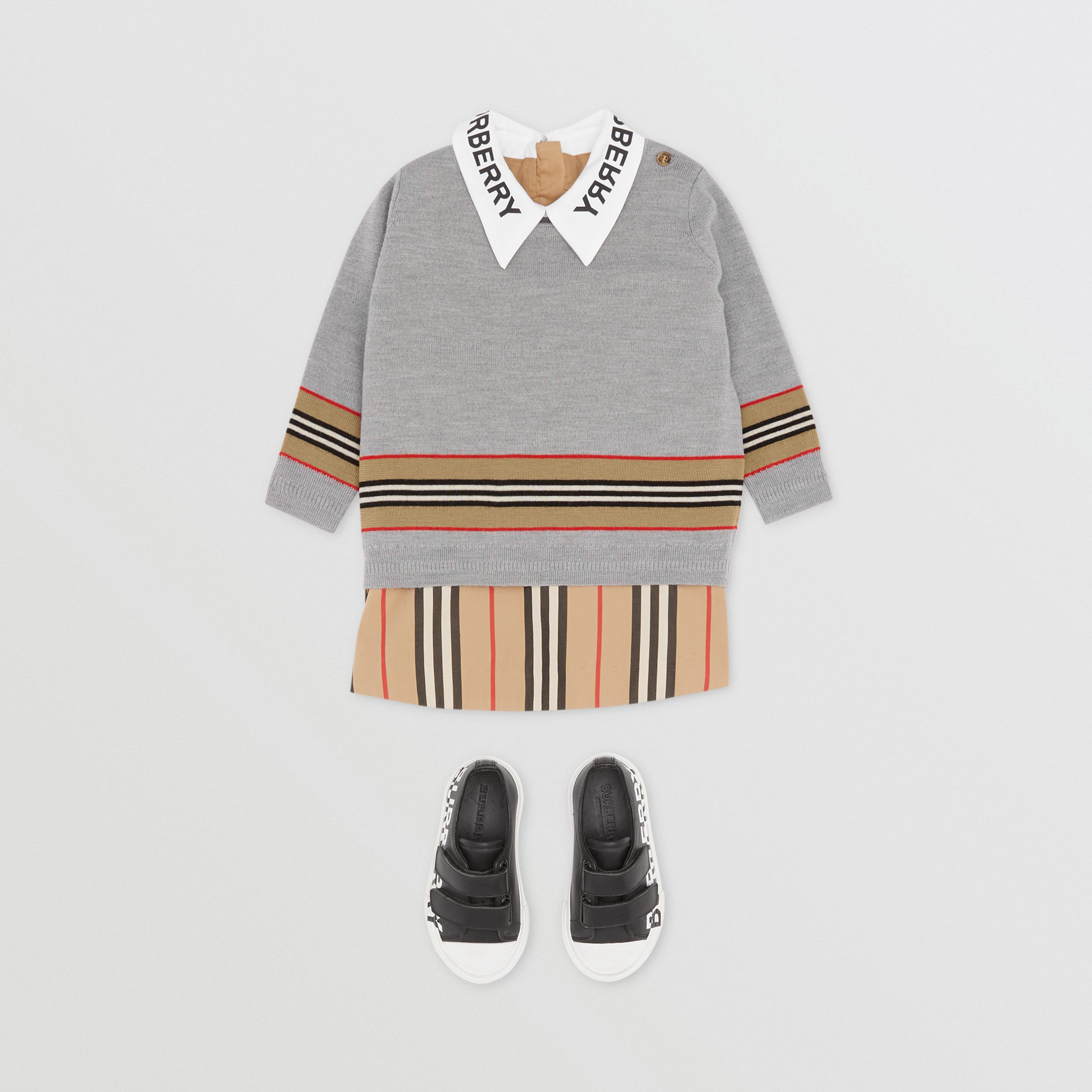Icon Stripe Panel Merino Wool Sweater - Children | Burberry - 3