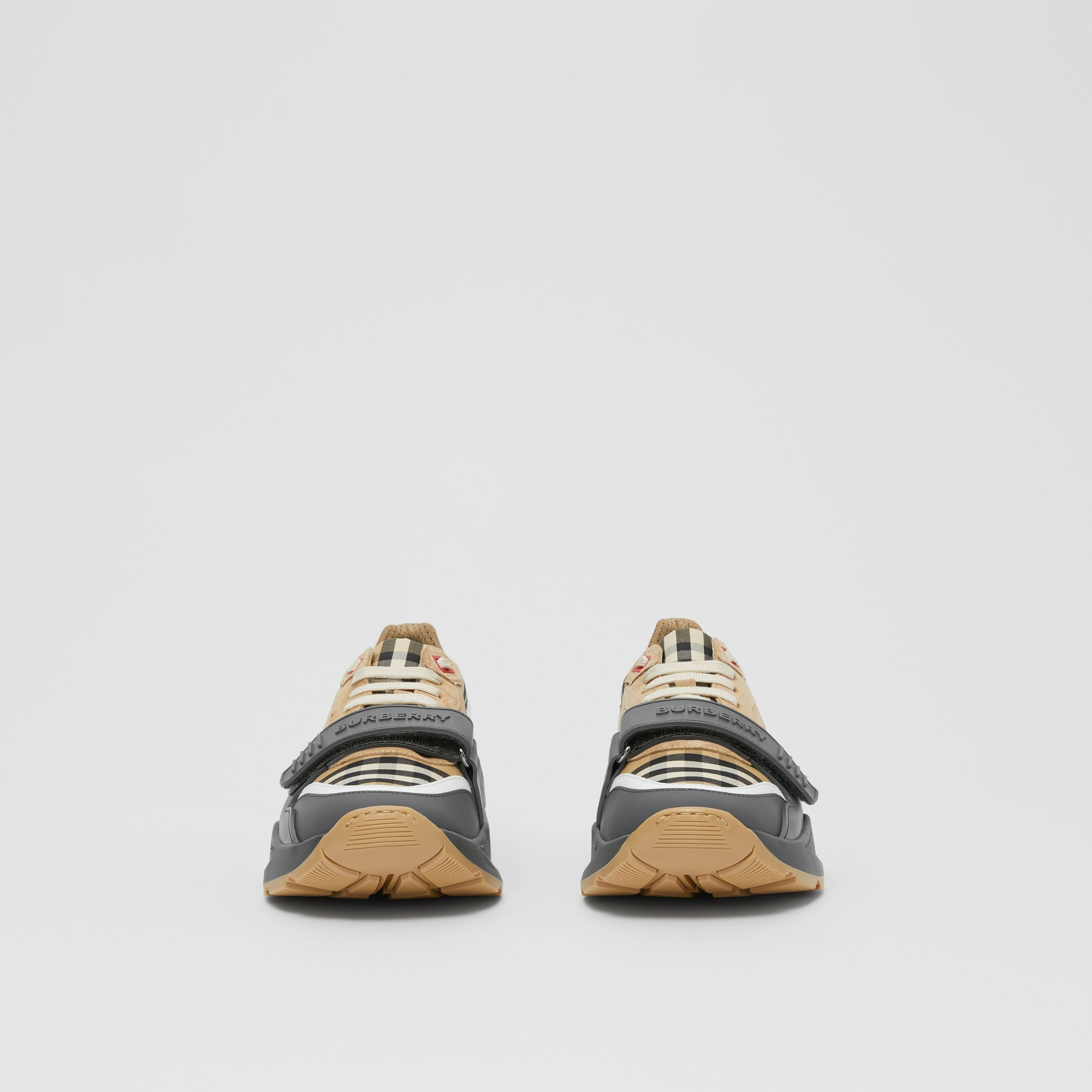 Vintage Check, Suede and Leather Sneakers in Grey/archive Beige - Women | Burberry - 4