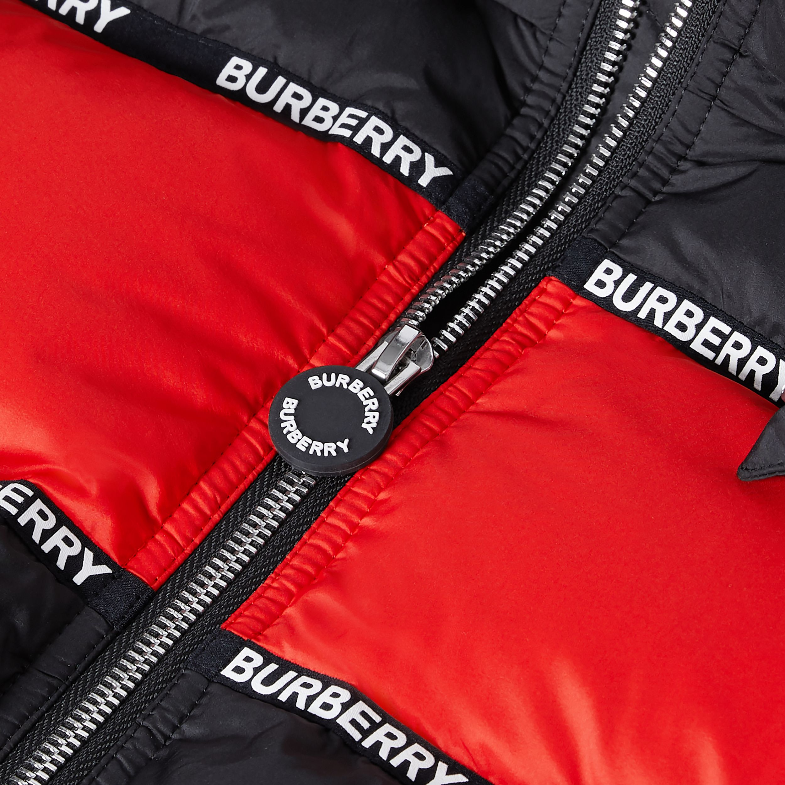 Logo Tape Striped Hooded Puffer Jacket | Burberry - 2