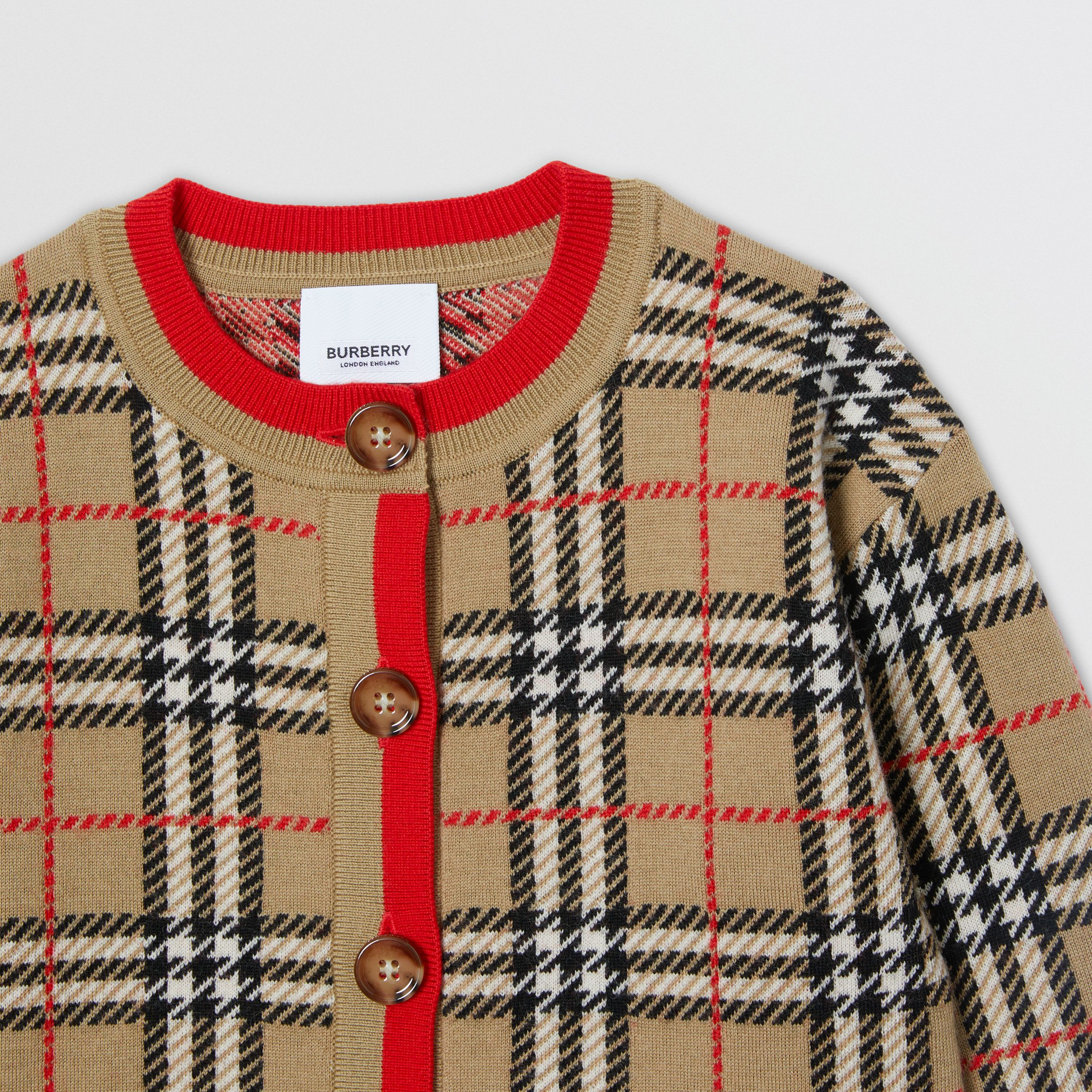 Check Merino Wool Jacquard Cardigan | Burberry - 2