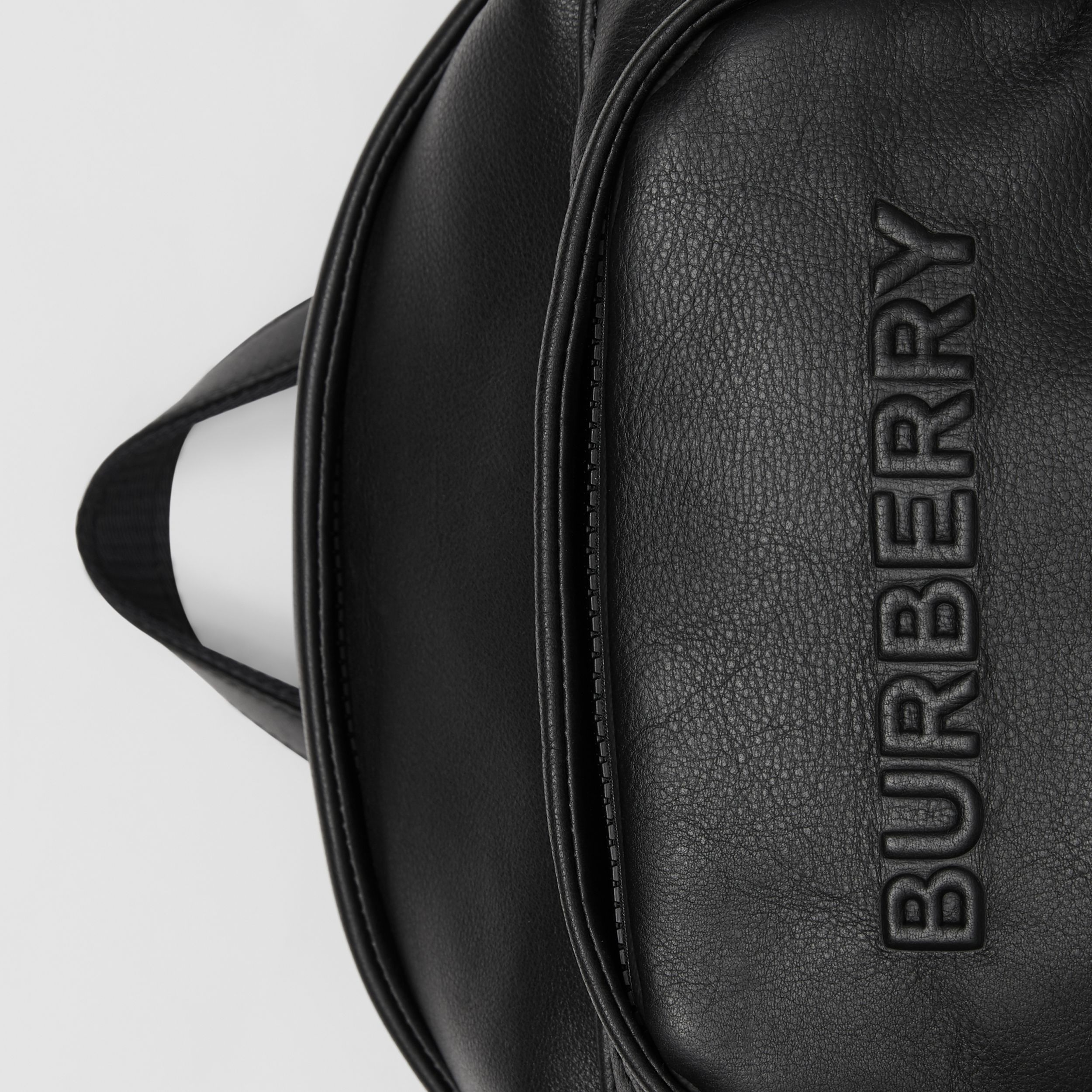 Large Logo Embossed Leather Backpack in Black - Men | Burberry - 2