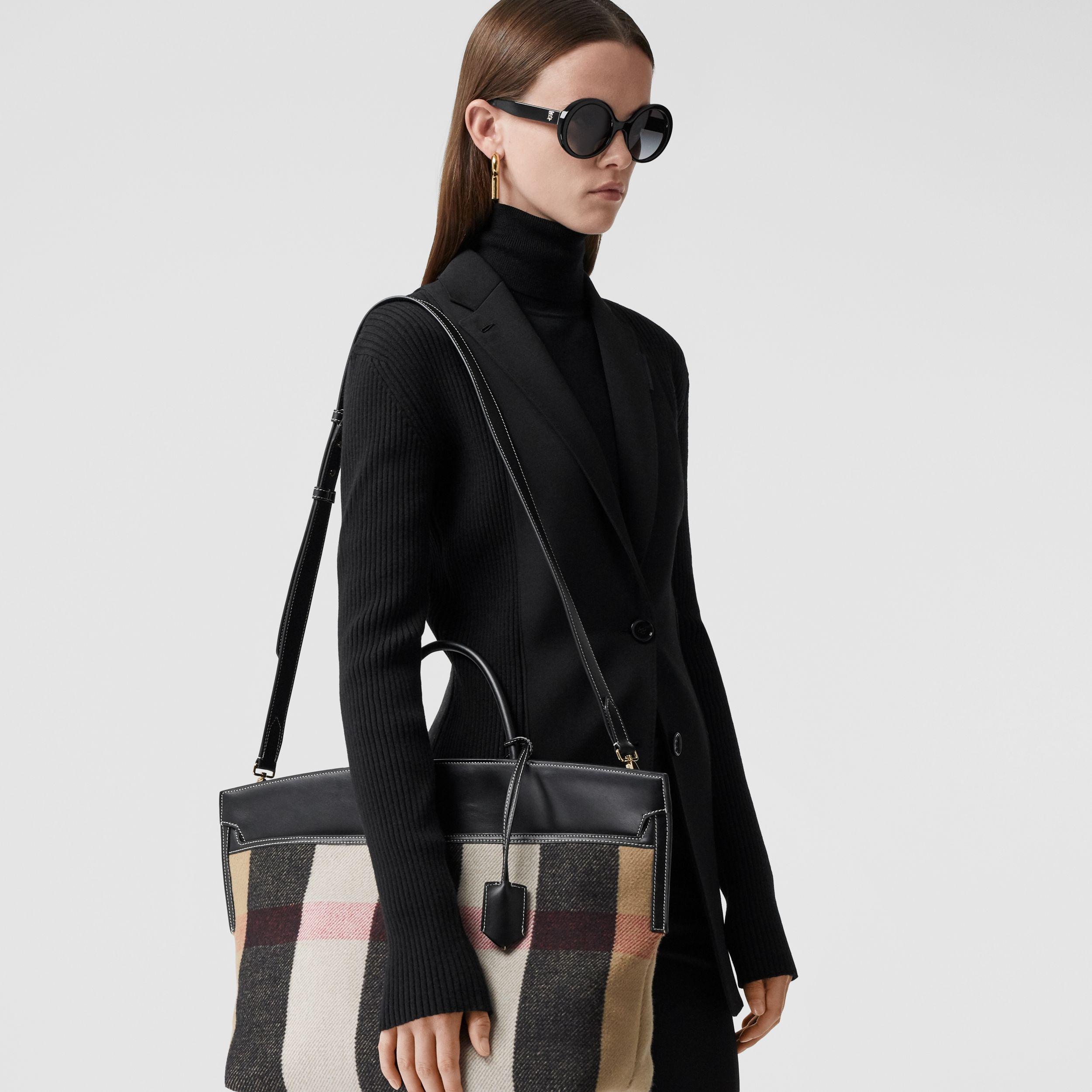 Check Merino Wool Cashmere Society Top Handle Bag in Archive Beige - Women | Burberry United Kingdom - 3